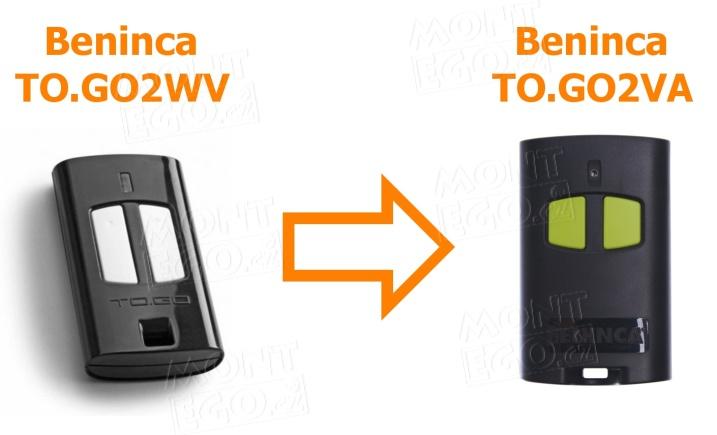 Porovnání starého dálkového ovladače Beninca TO.GO2WV a nového ovladače Beninca TO.GO2VA