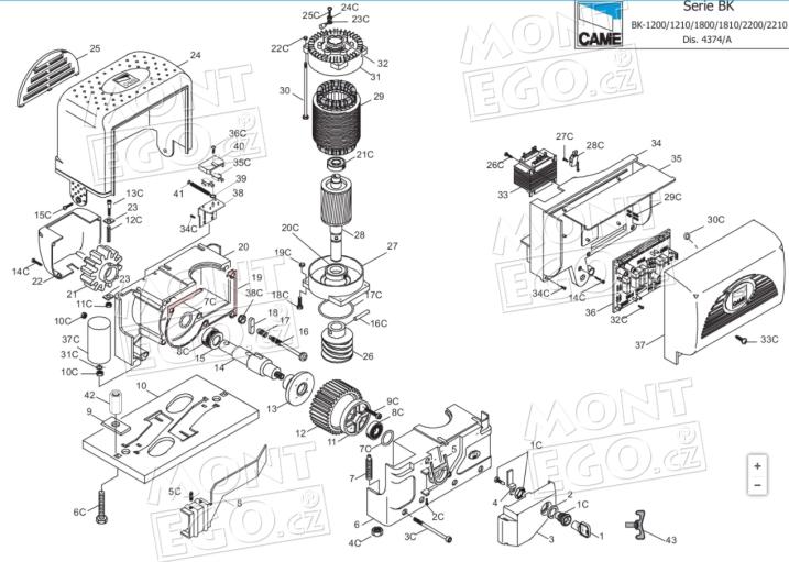 Seznam náhradních dílů pro pohony Came BK-1200P