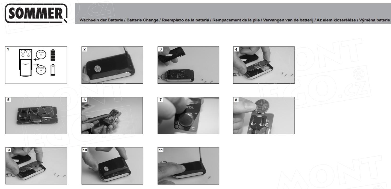 Jak vyměním baterie u dálkového ovládání Sommer