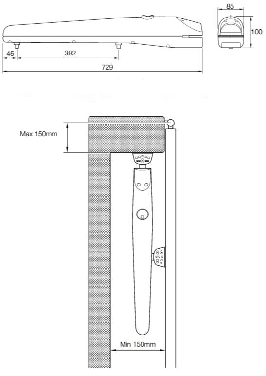 Rozměry pohonu Mhouse WG2