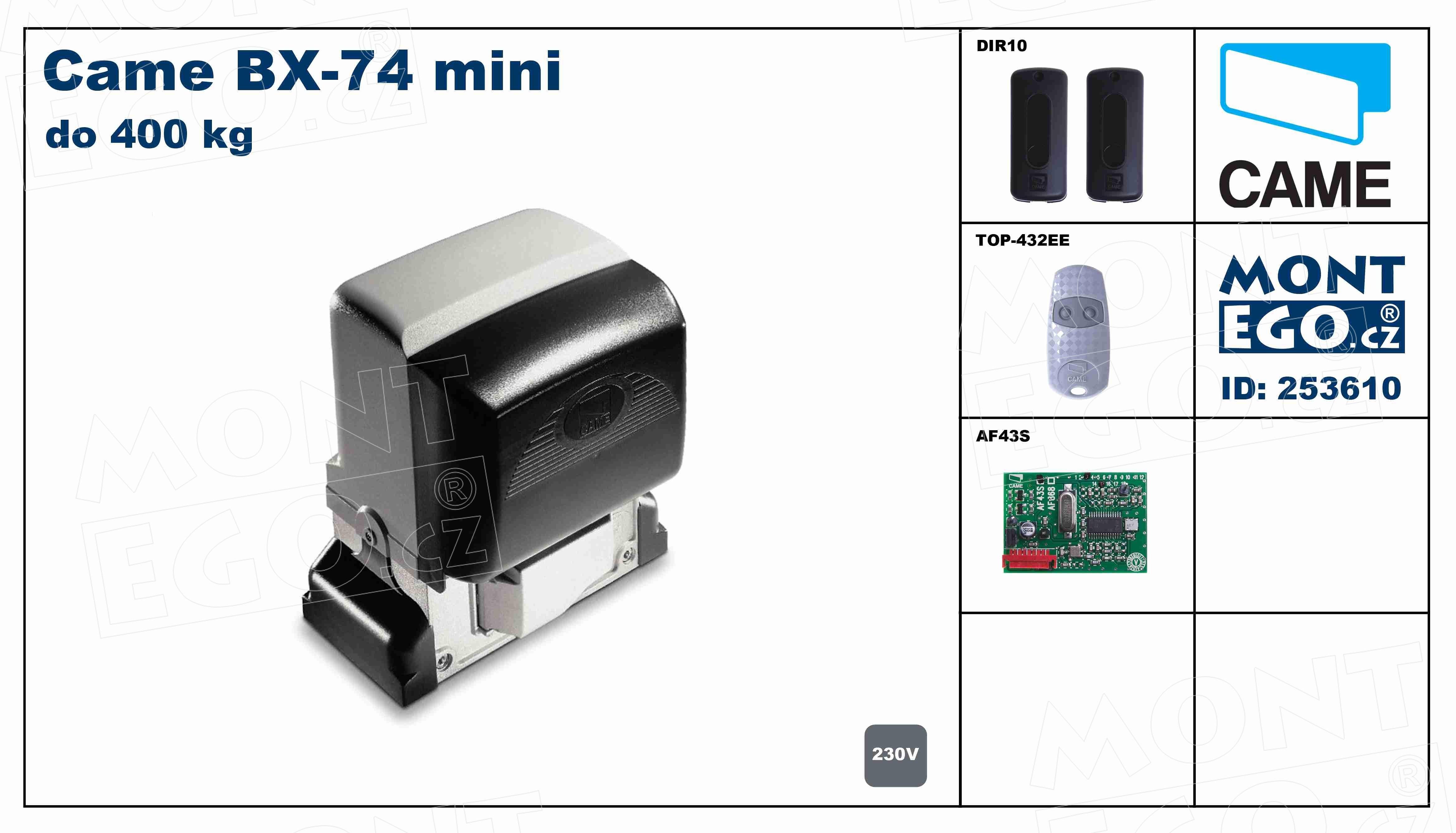 Sada pohonu posuvné brány Came BX-74 mini, set do 400 Kg vč. dálkového ovládání