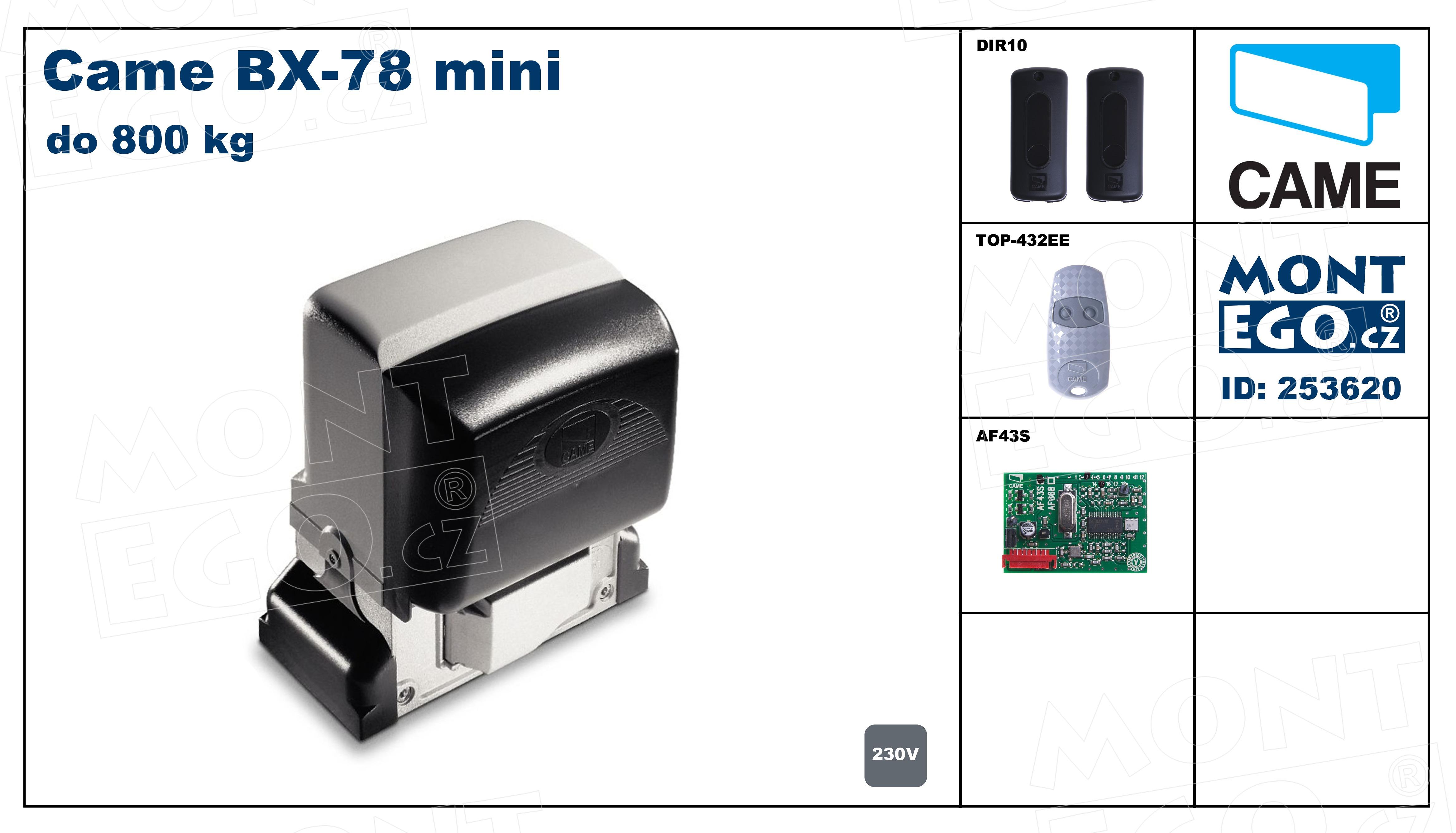 Sada pohonu posuvné brány Came BX-78 mini, set do 800 Kg vč. dálkového ovládání