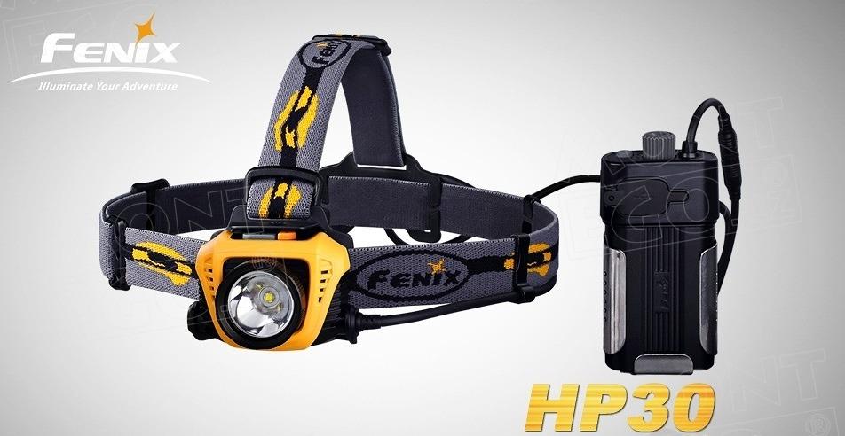 Fenix HP30, LED čelová svítilna 900 lumenů, 2 x aku 18650, oranžová (power banka)