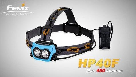 LED čelovka Fenix HP40F s 450 lm, modrá LED pro rybáře na 2 x aku 18650 (power banka)