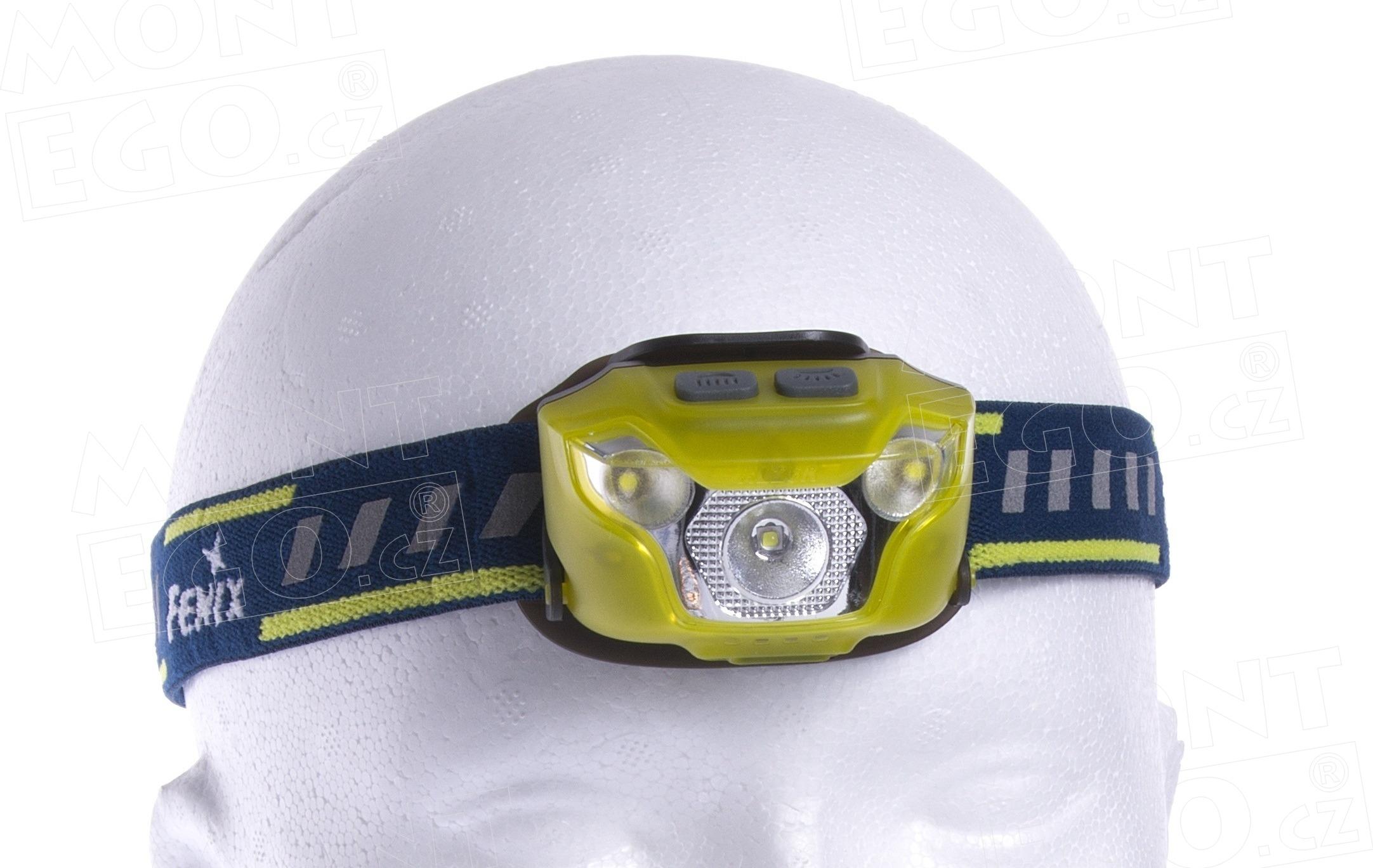 Malá čelovka Fenix HL26R, žlutá, 460 lm, nabíjení přes USB