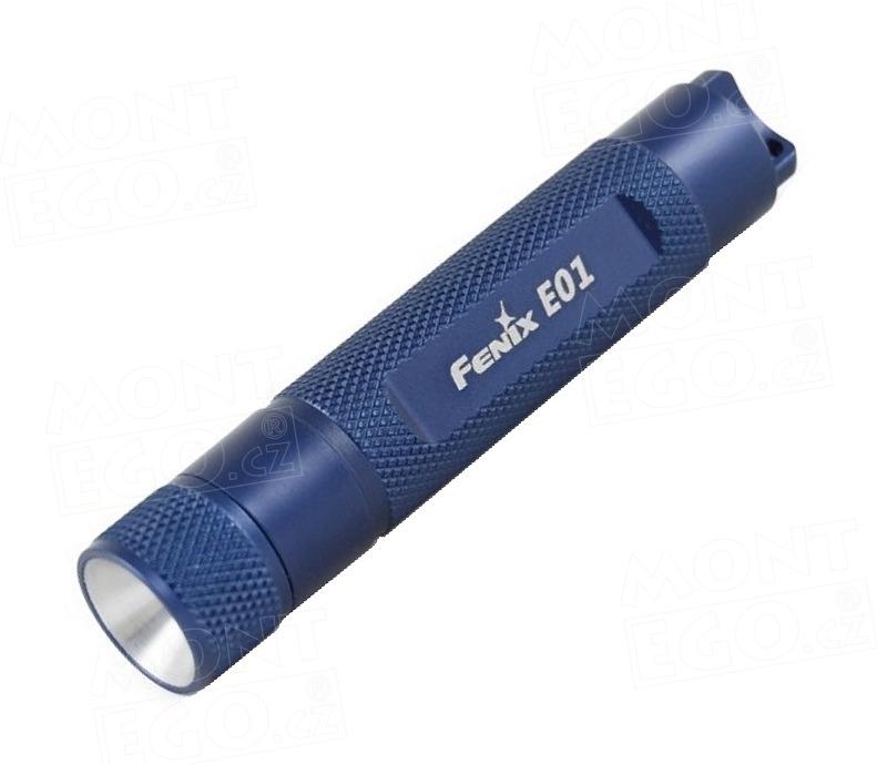 Svítilna Fenix E01, modrá mini LED baterka,13 lm