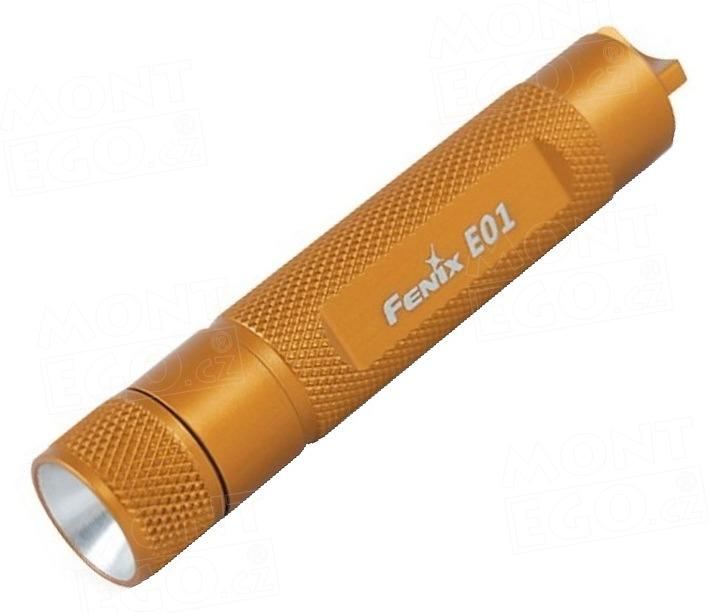 Mini baterka Fenix E01,malá svítilna LED, 13 lm, zlatá