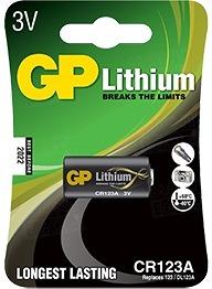 GP CR123A lithiová baterie 3 V pro led svítilny a fotoaparáty