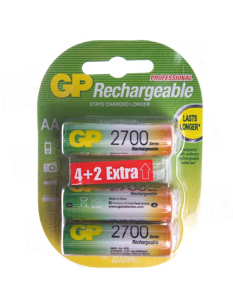 6 ks nabíjecí baterie NiMH baterie GP 2700MAh, HR6, 1,2 V, velikost AA, Baterie GP 2700mAh AA 6ks