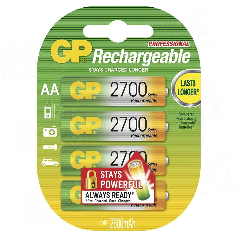 4 ks nabíjecí baterie NiMH baterie GP 2700MAh, HR6, 1,2 V, velikost AA, Baterie GP 2700mAh AA 4ks