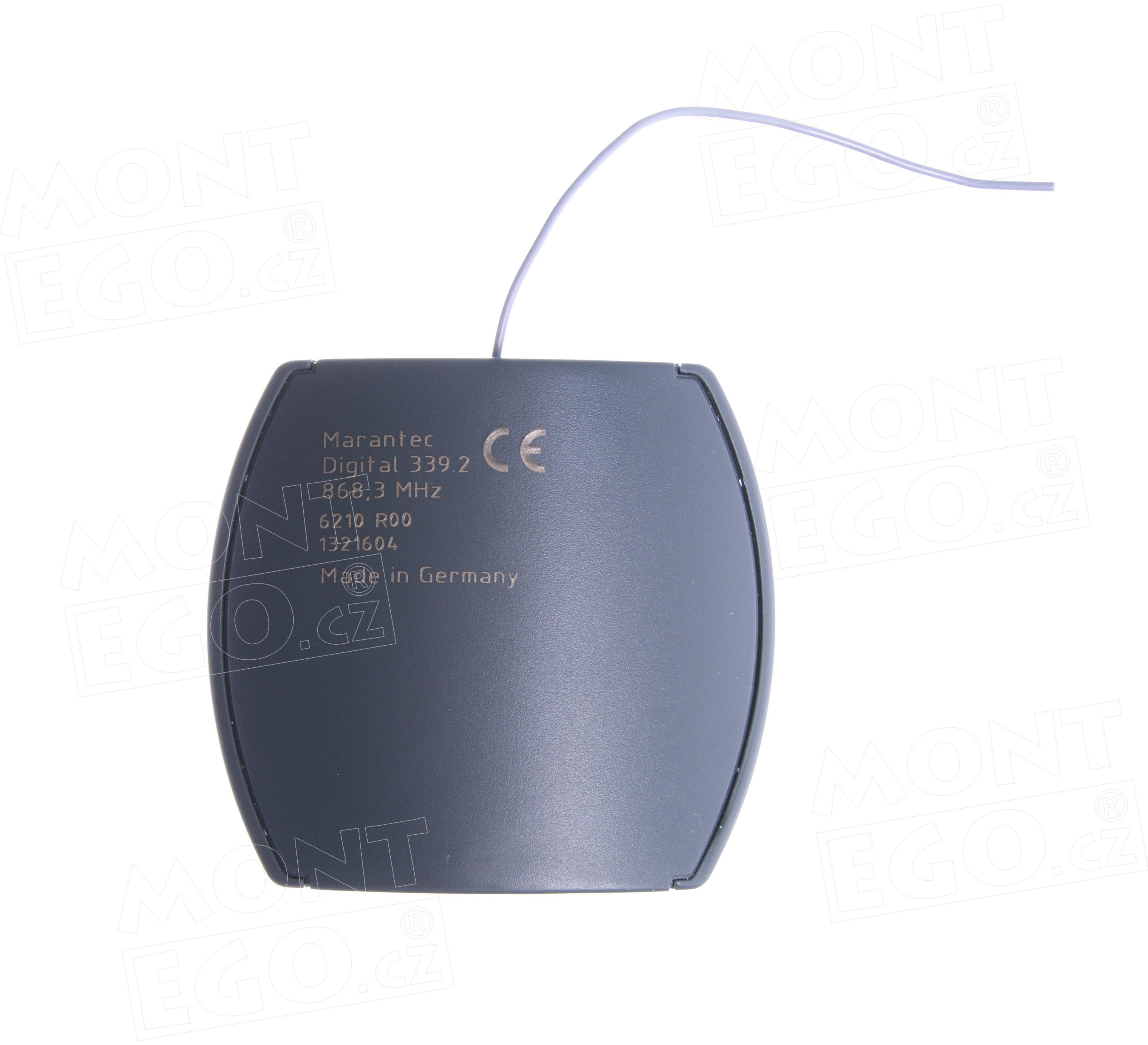 1 kanálový externí přijímač dálkového ovládání pohonů, Marantec Digital 339.2, plovoucí kód, 868,3 MHz