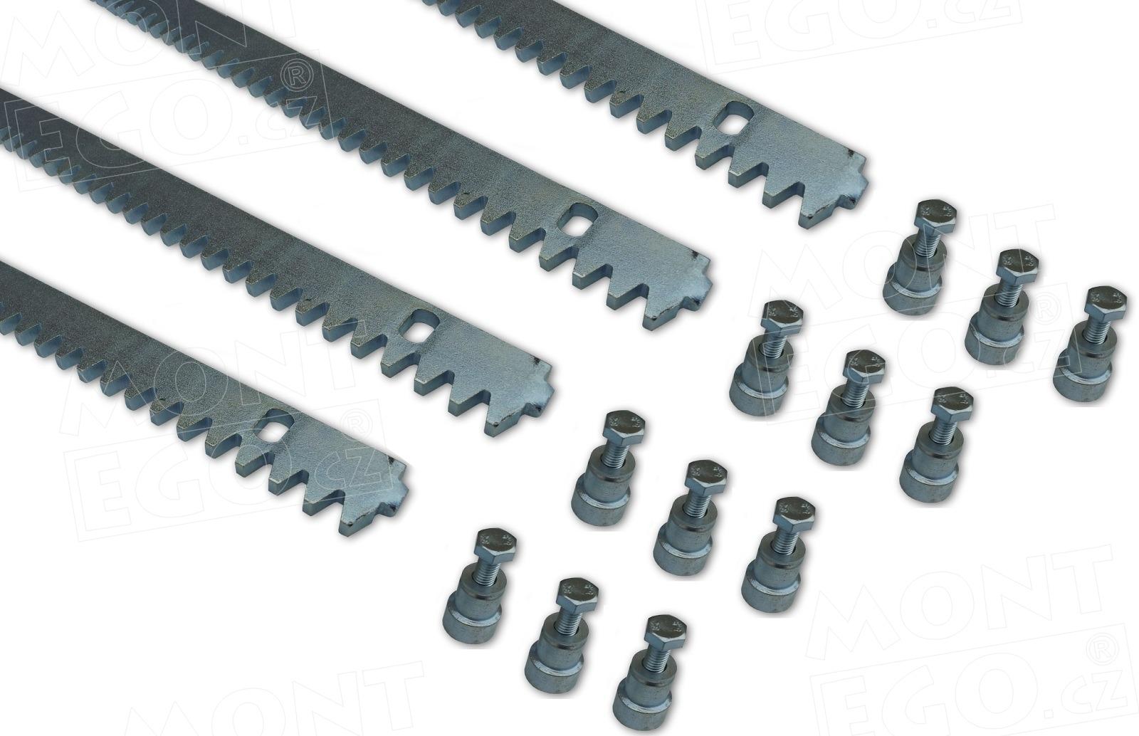 Set 4 ocelových hřebenů OHRB.8.4 pro posuvné brány do 3,6 m průjezdu
