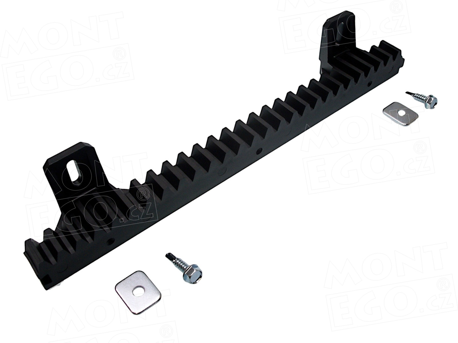 Plastový ozubený hřeben s ocelovou výztuhou pro posuvné pohony bran, PHRB.033, délka 33 cm