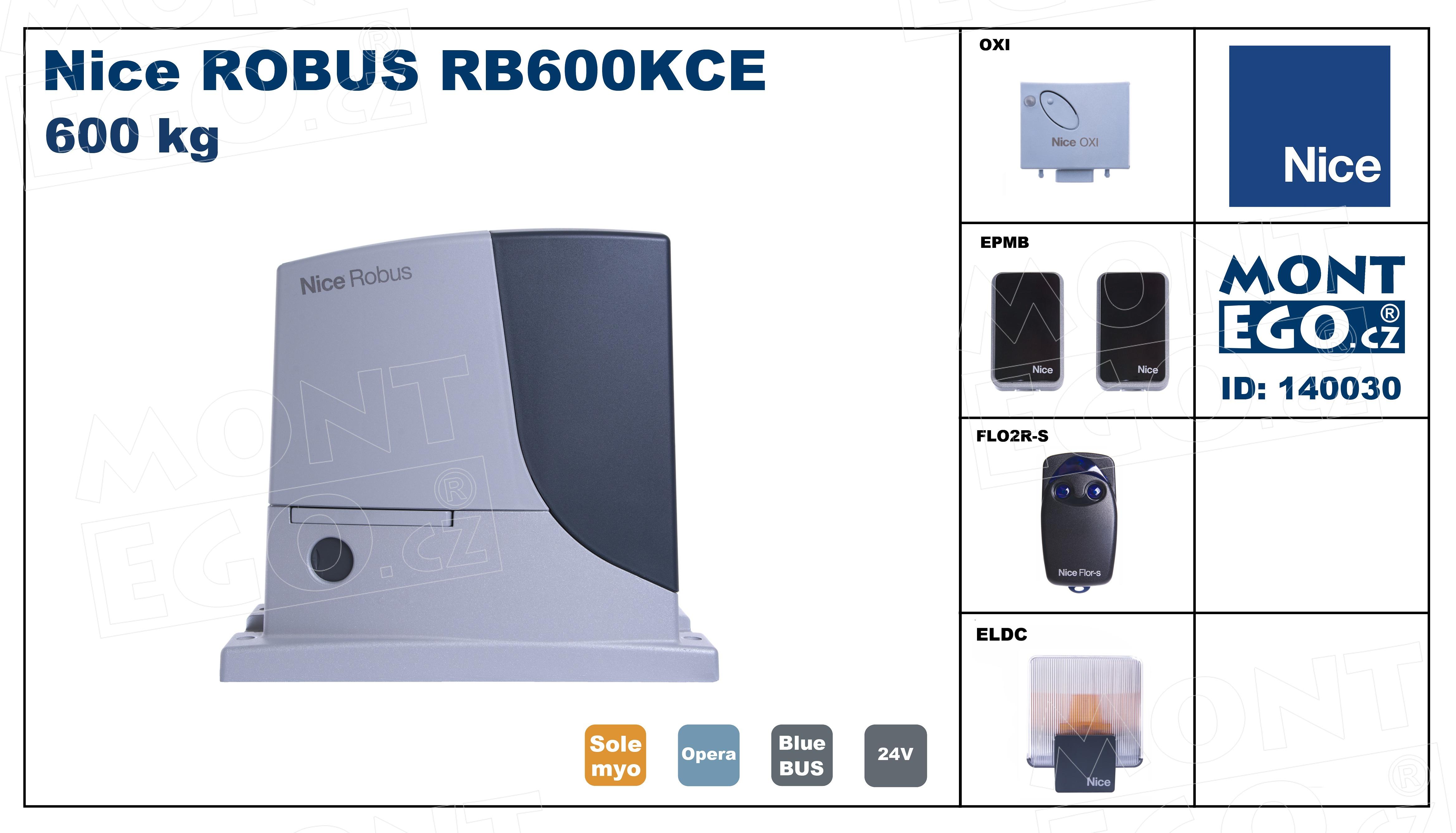 RB600KCE kompletní sada pohonu posuvné brány do 600 Kg Robus 600 Kit, Robuskit600