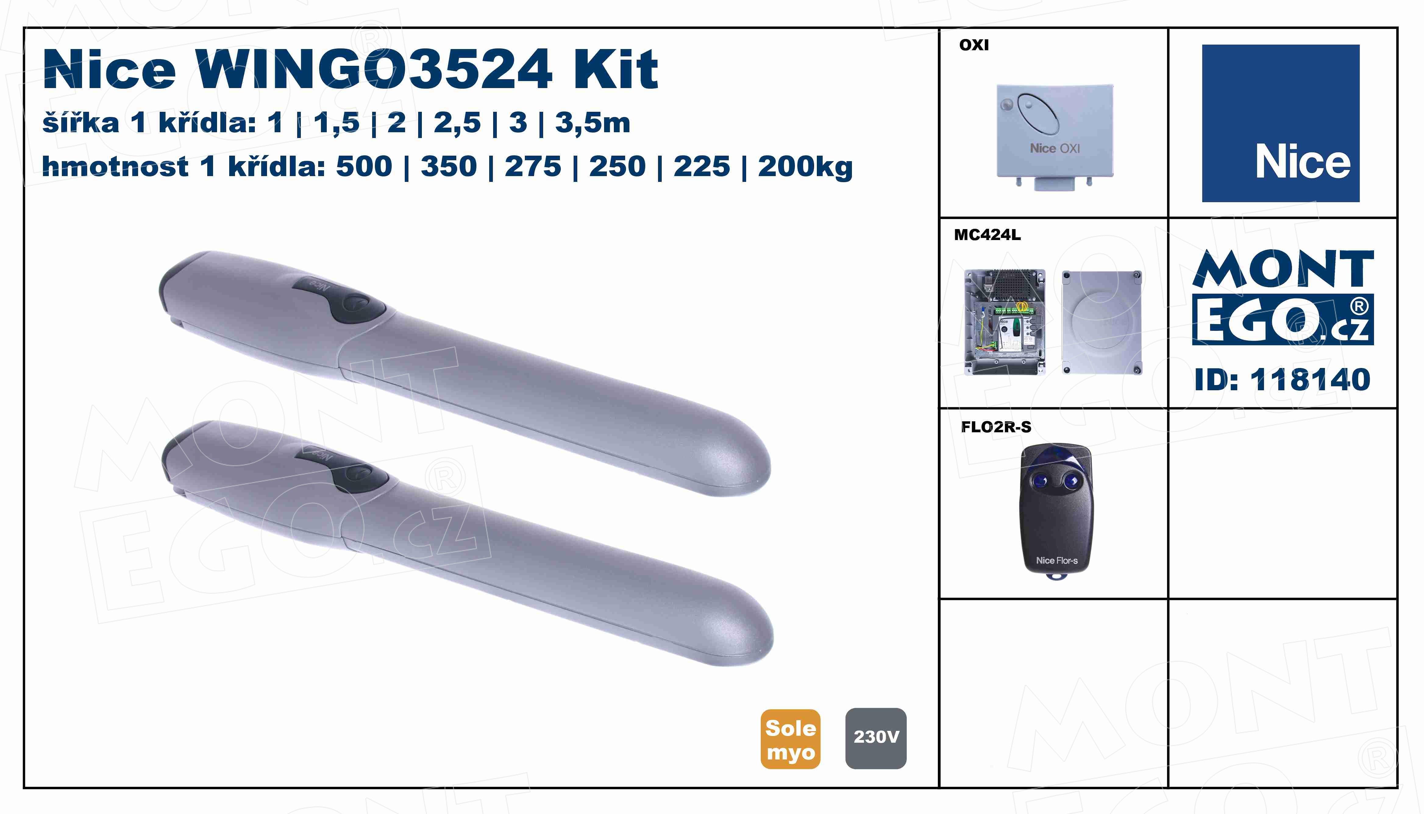 WINGO3524 KIT pohony křídlových vrat Wingokit 3524