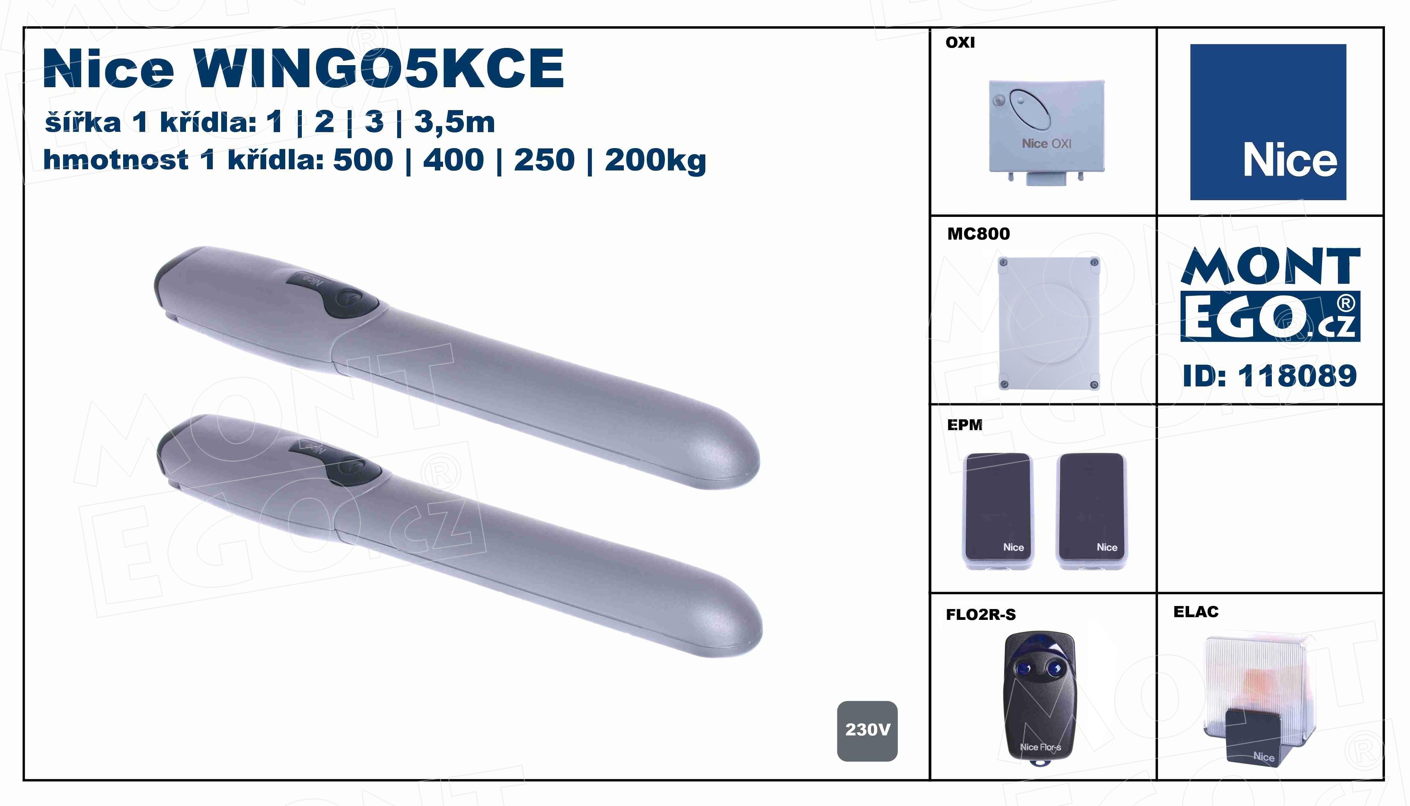 WINGO5KCE sestava pohonů Wingo pro křídlové brány do 7.00 m průjezdu Wingo5kit 5000