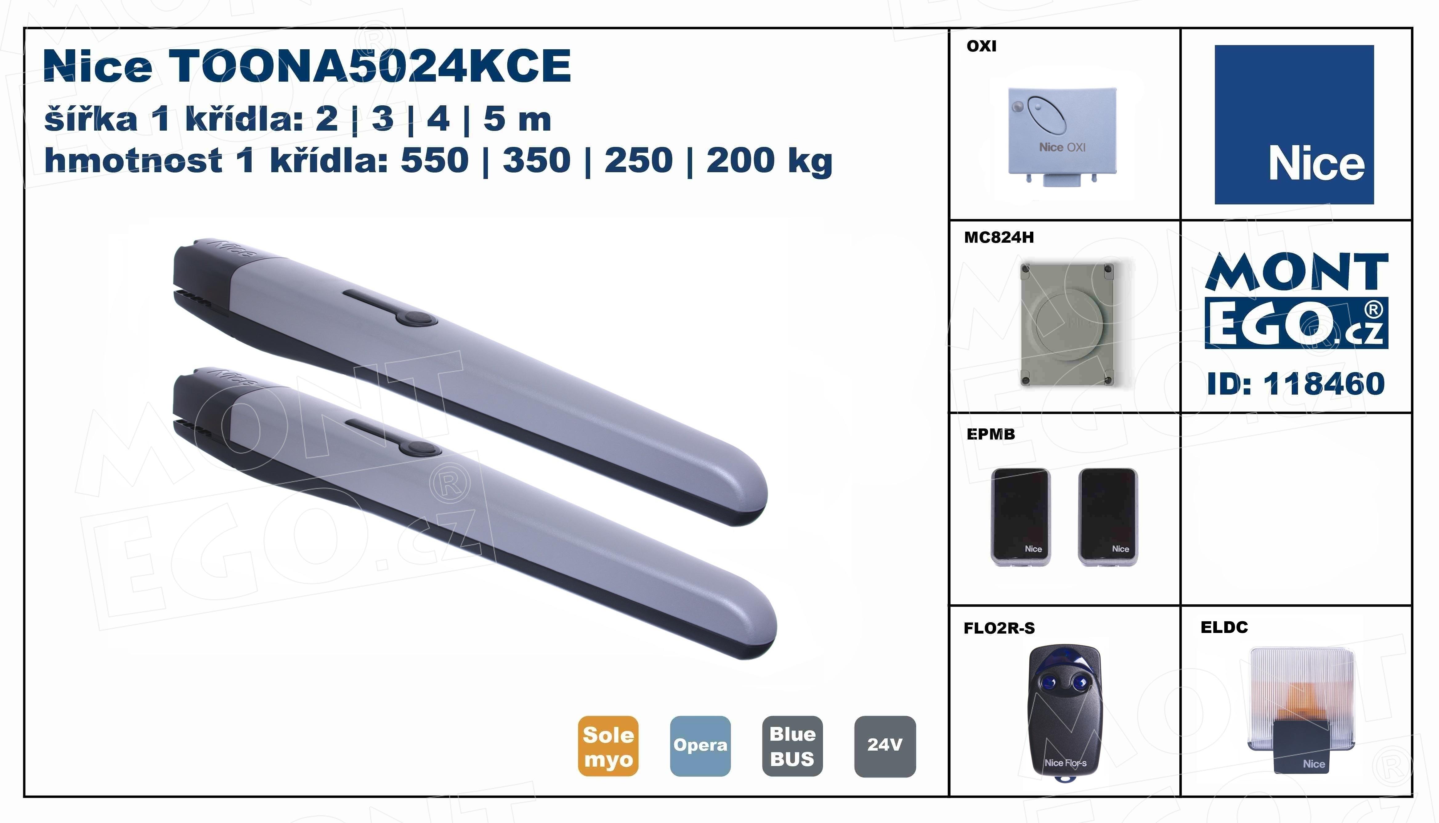 TOONA5024KCE komplet pro 2 křídlou bránu do 10 m průjezdu, Nice Toona 5024 kit