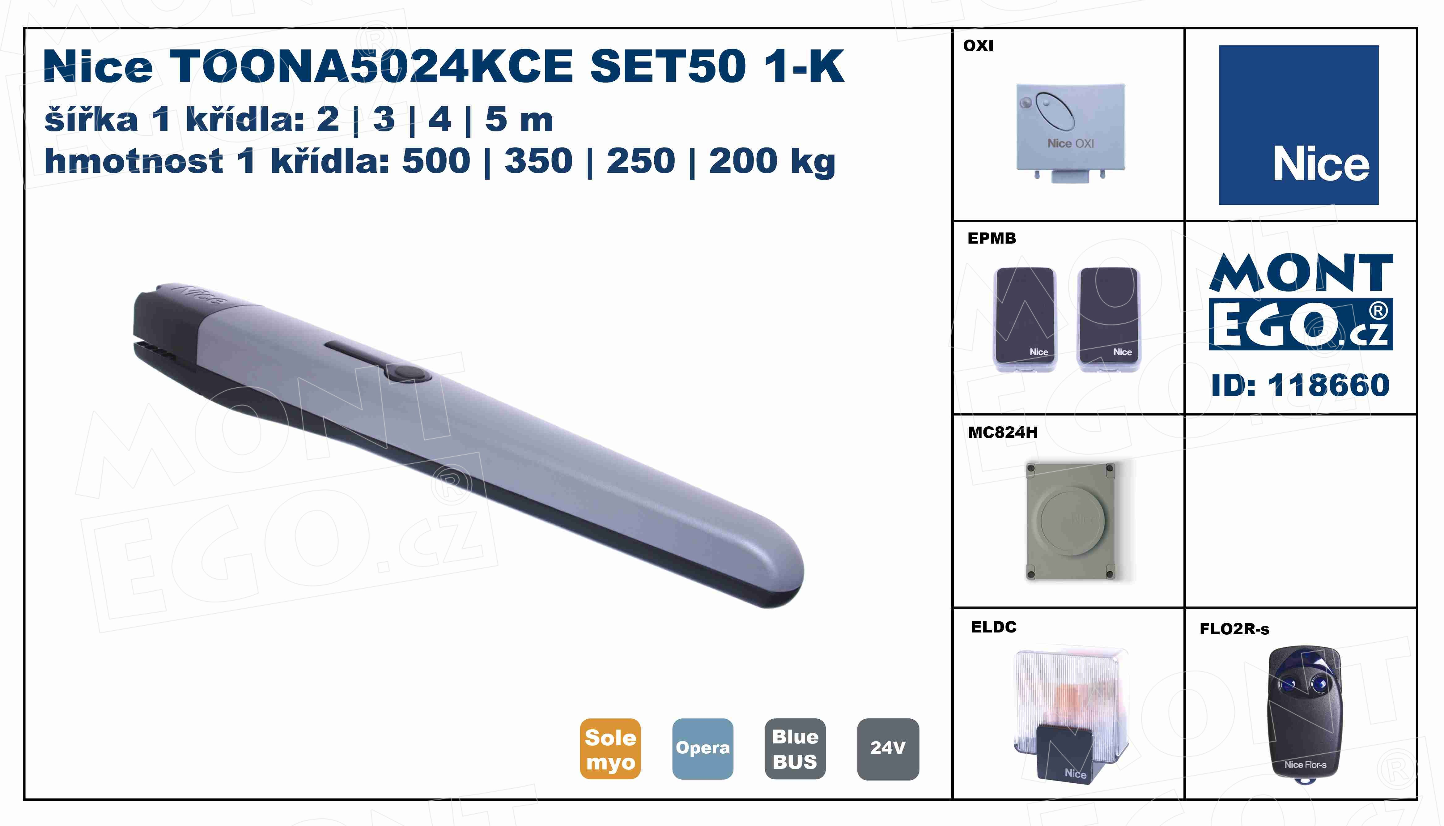 TOONA5024KCE SET50 1-K kit pohonu pro jednokřídlou bránu do 5 m průjezdu, Toona 5024 kit
