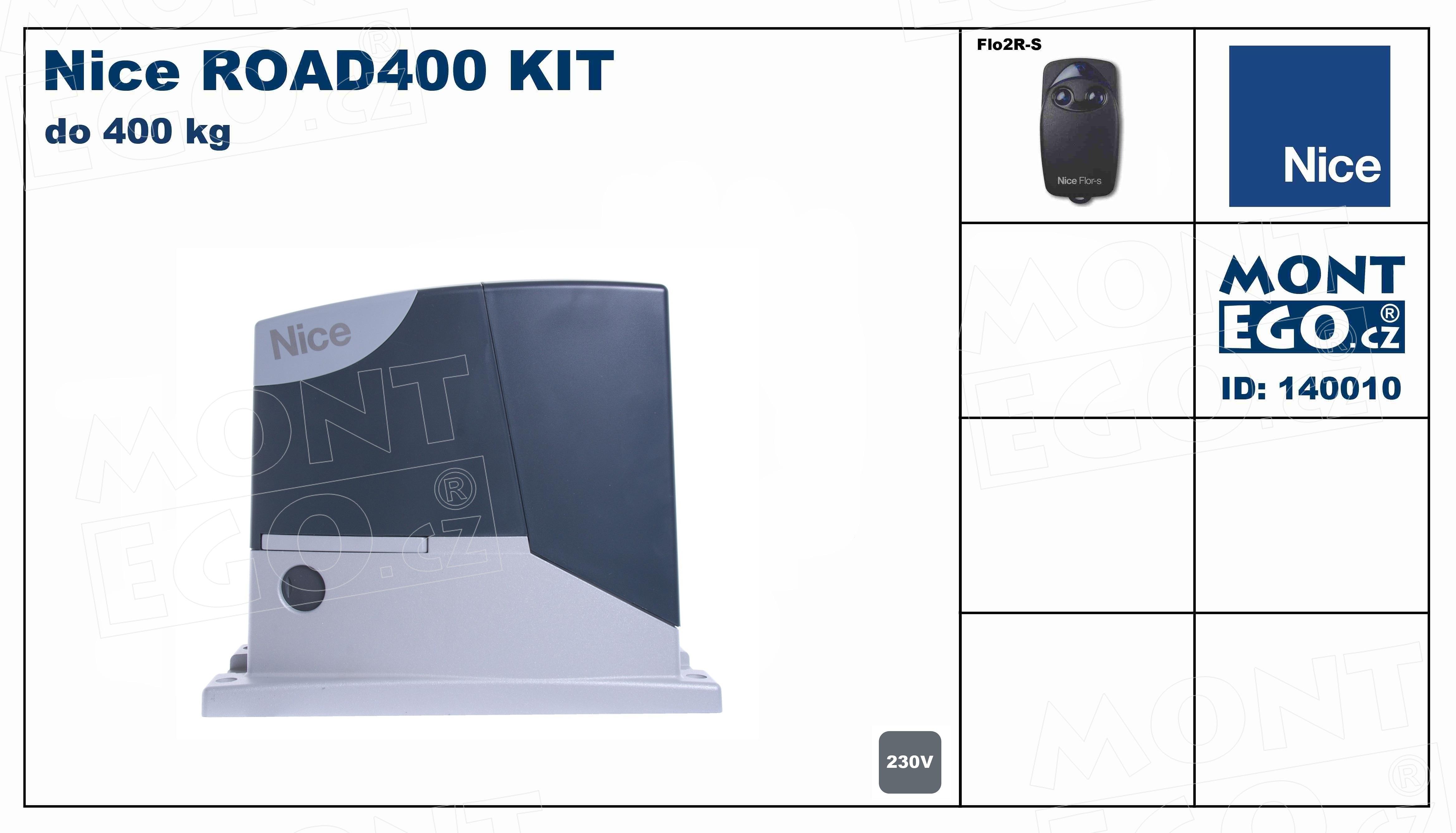 ROAD400 KIT pohon posuvné brány do 400 Kg Road400kit s dálkovým ovladáním, Nice Road 400