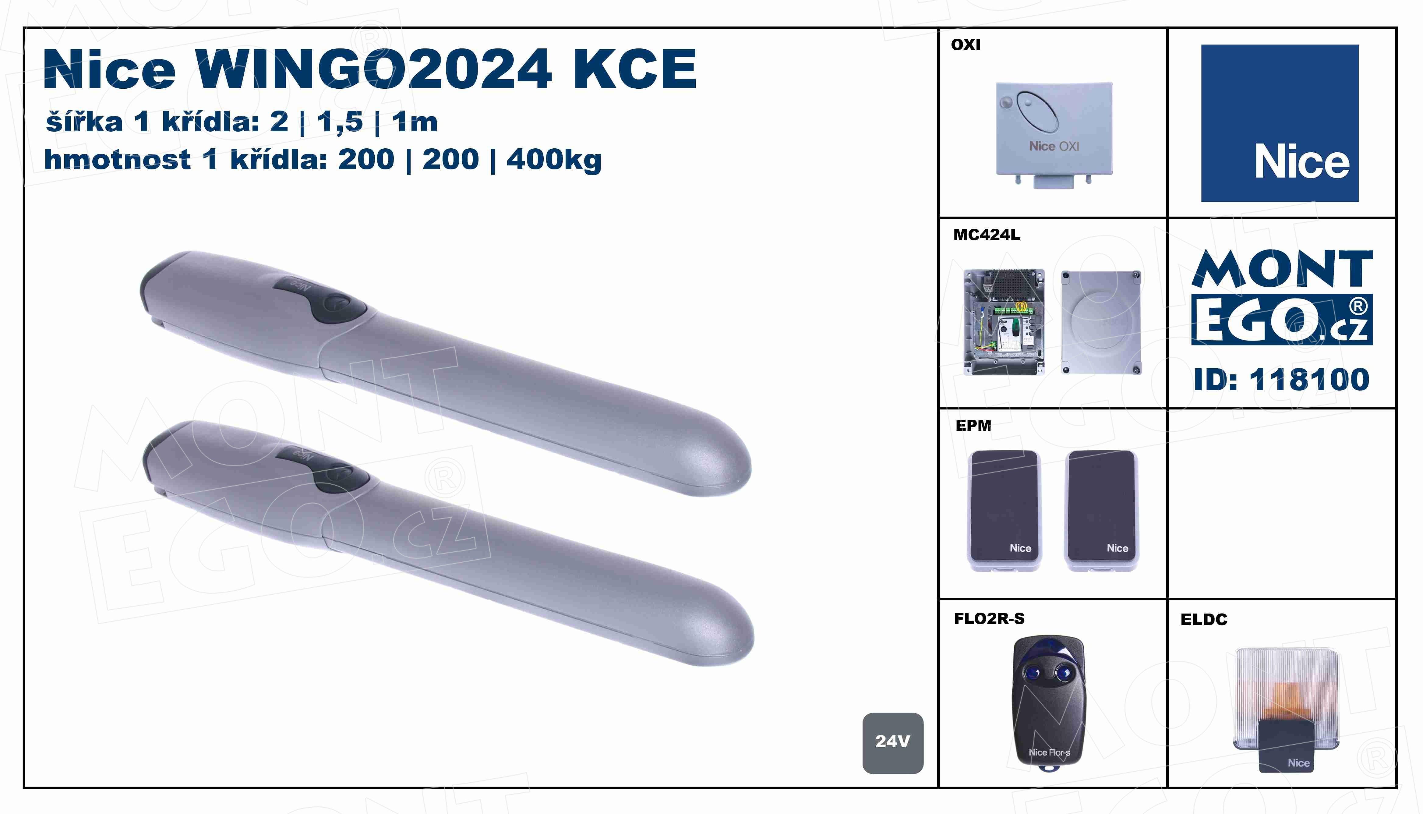 WINGO2024 KCE kompletní set pohonů křídlové brány WingoKit 2024