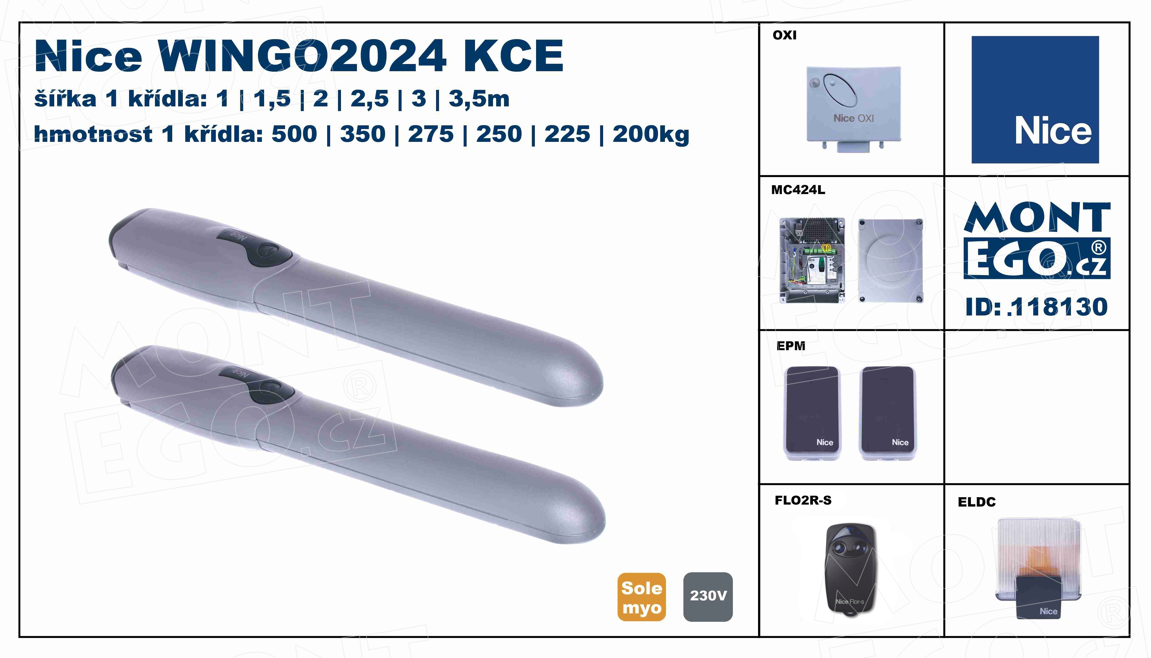 WINGO3524 KCE pohony křídlových vrat WingoKCE 3524