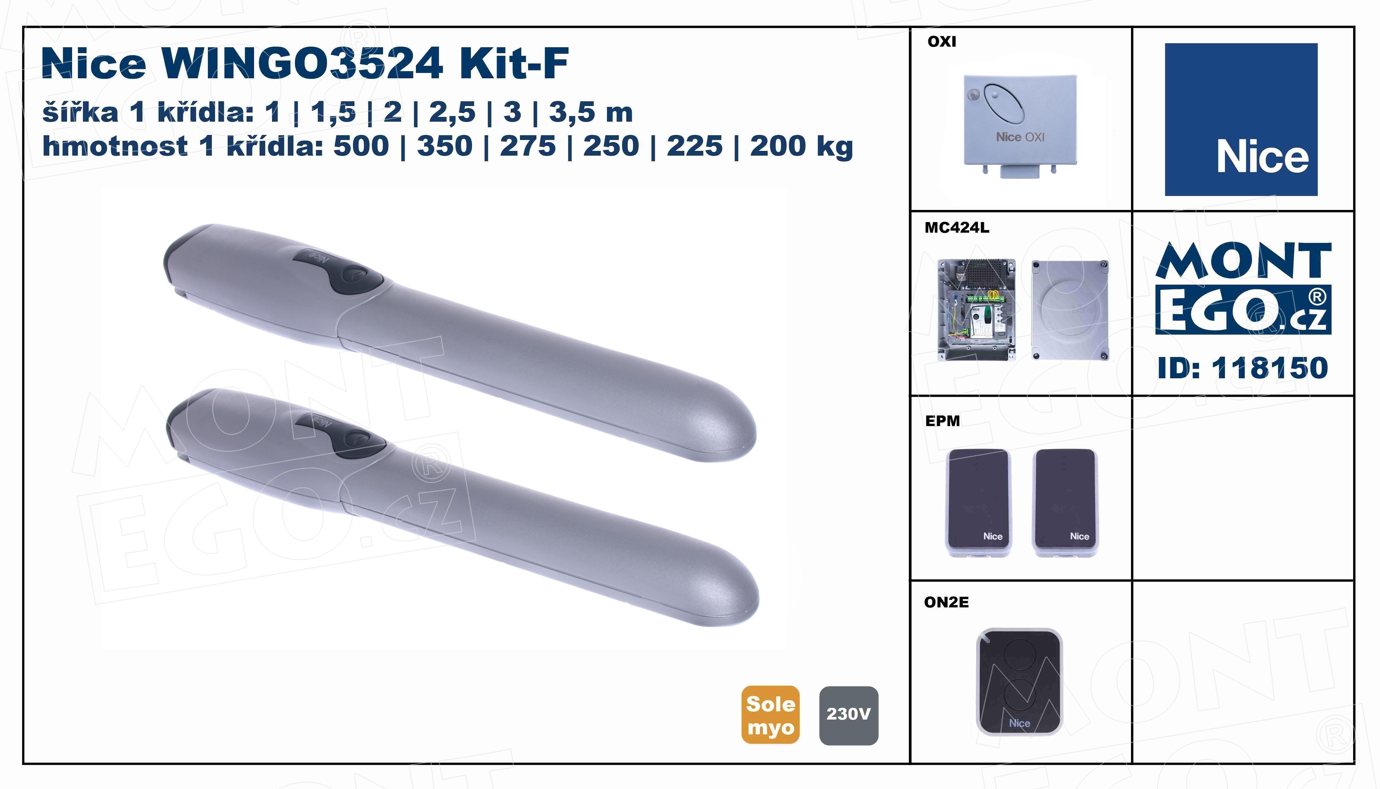 WINGO3524 Kit-F pohony křídlových bran WingoKit 3524 F