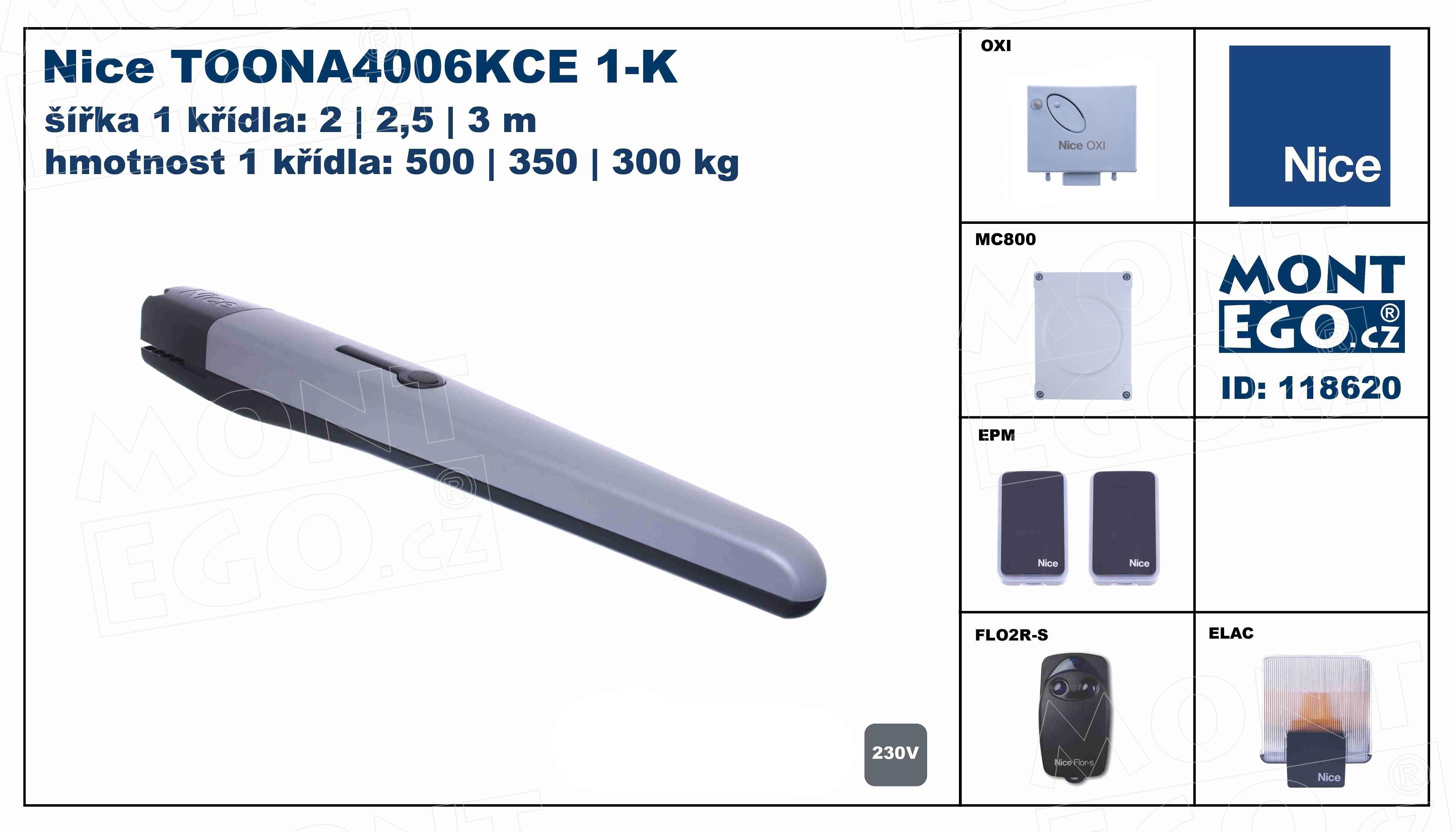 sady pohonů 1 křídlových bran do 3 m průjezdu Toonakit 1K TOONA4006KCE-1K