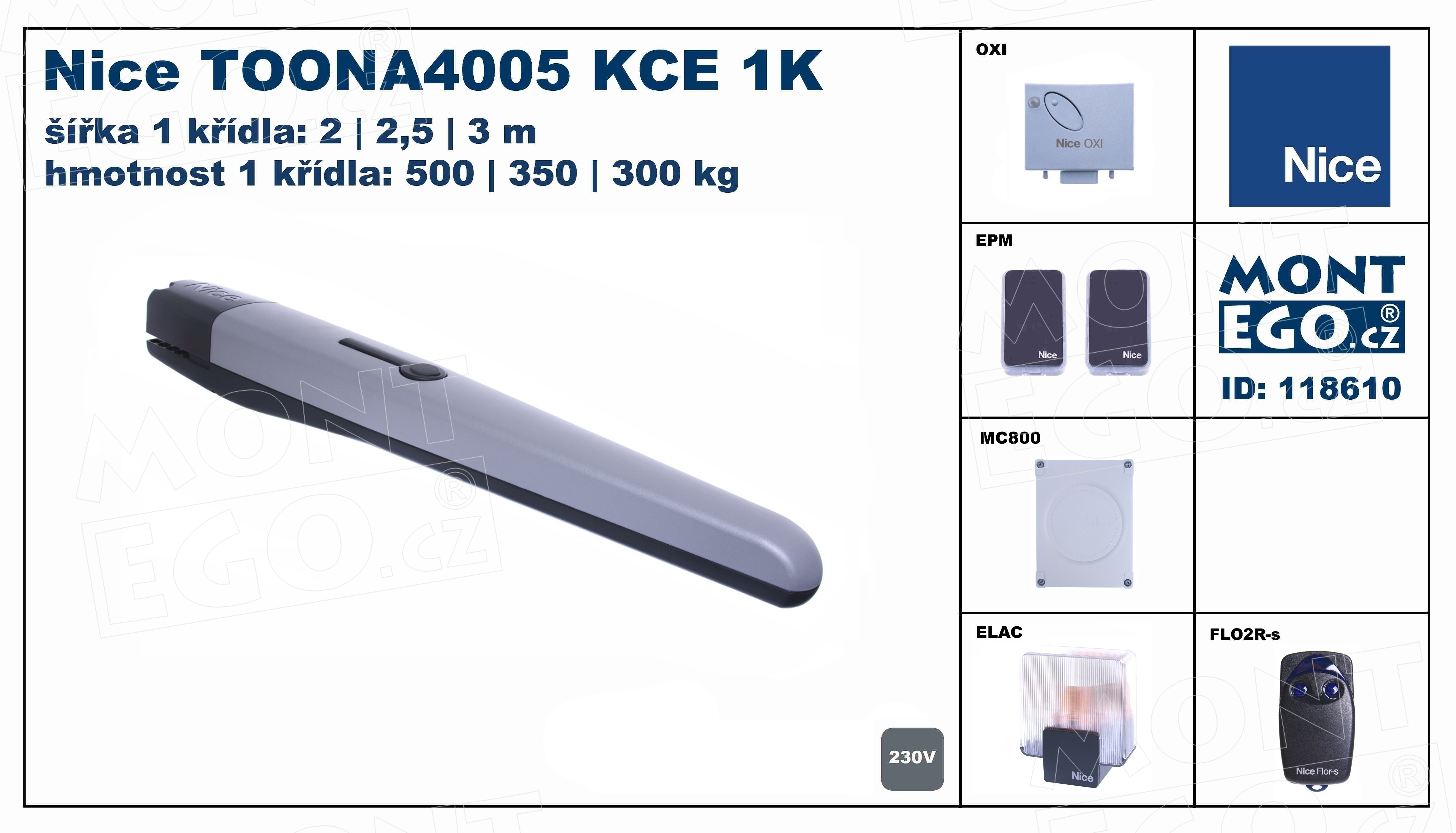 sada pohonu jednokřídlé brány TOONA4005KCE 1K do 3 m průjezdu