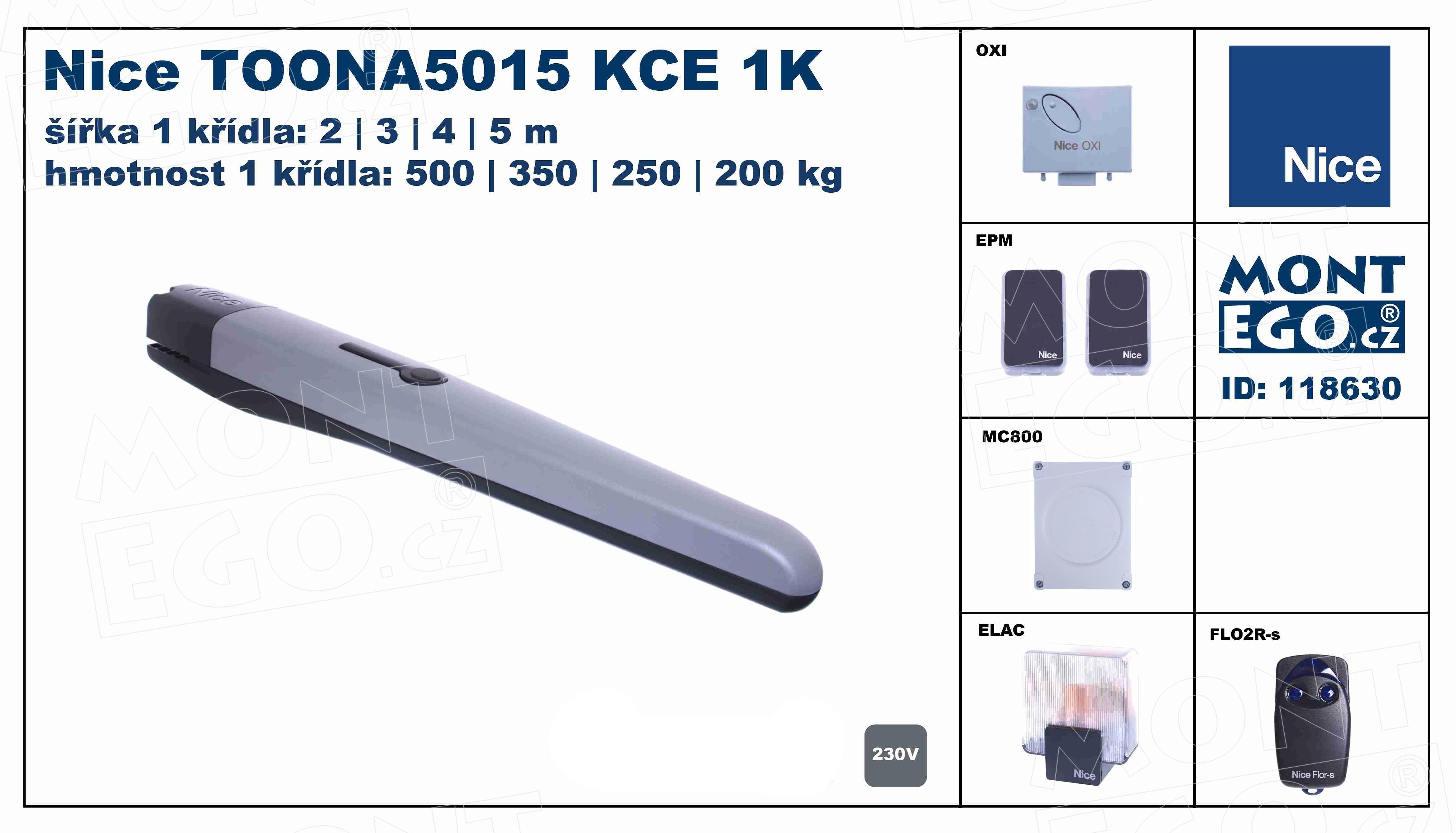 pohon pro 1-křídlové brány široké 5 m TOONA5015KCE 1K - kompletní sada