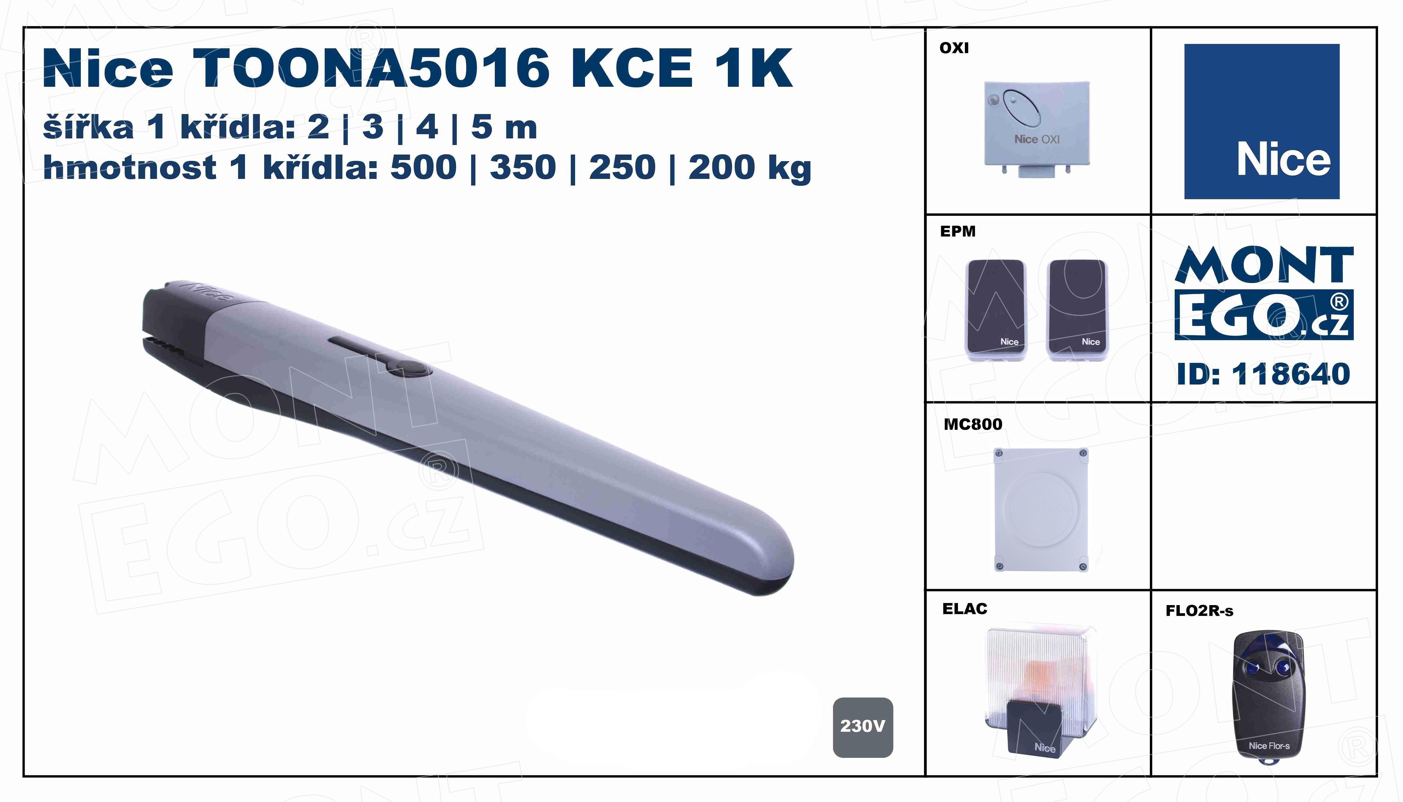 Sestava pohonu pro jednokřídlové brány široké 5 m TOONA5016 KCE 1K - kompletní set