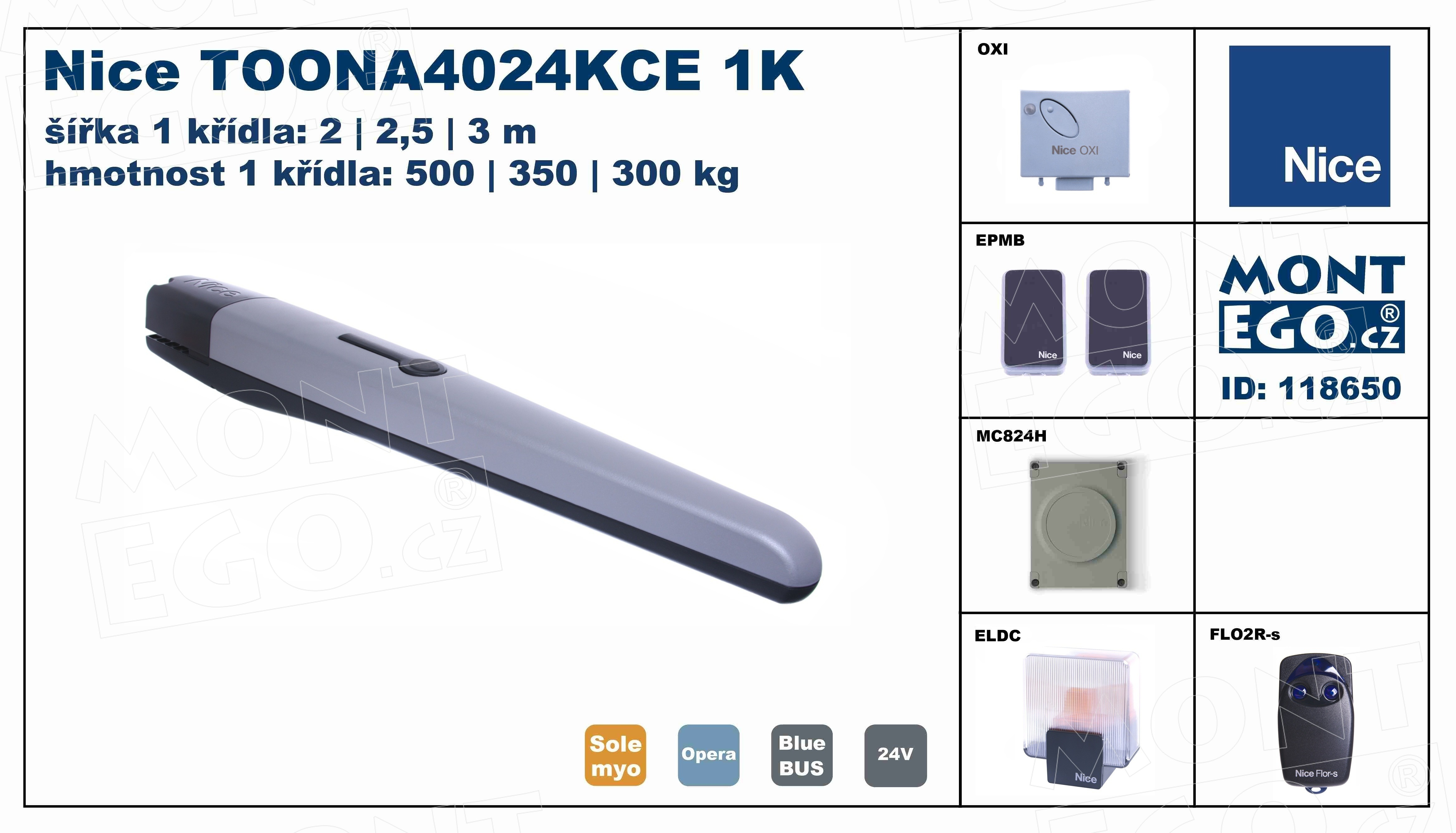 TOONA4024KCE 1K sestava pohonu 1křídlové brány do 3 m průjezdu, TO4024 Toonakit, Doprava Zdarma