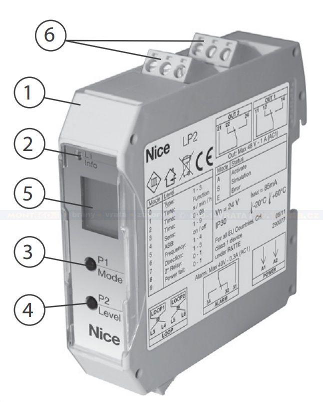 Dvousmyčkové indukční detektory vozidel Nice LP2 pro závory