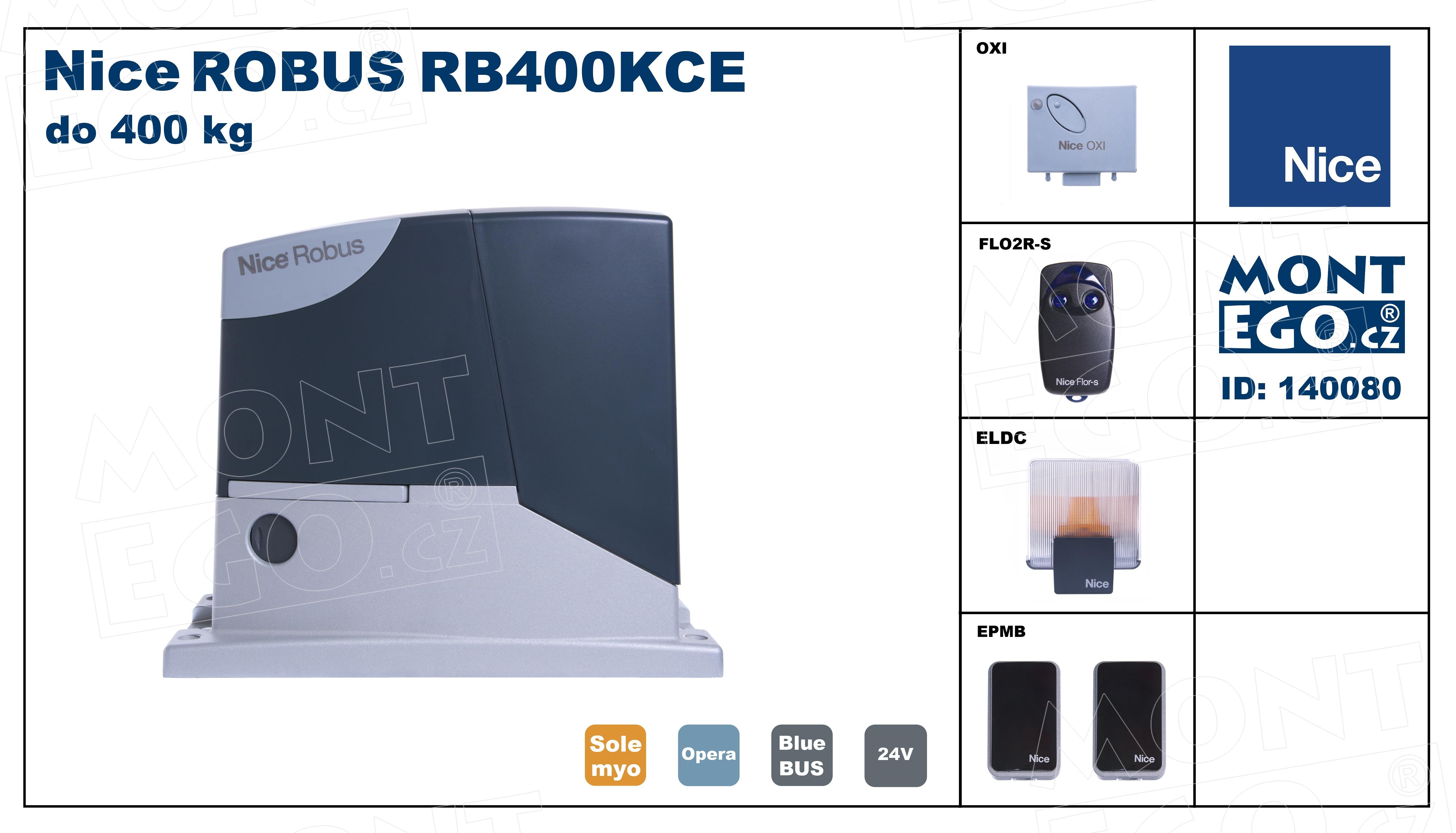 Robus400 Kit RB400KCE sada pohonu posuvné brány do 400 Kg RB400
