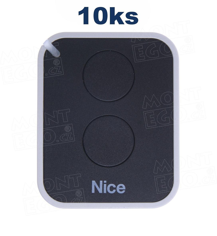 10 ks vysílaček Nice ON2E, 2 kan. dálkový ovladač, levnější náhrada za Nice Flo2RE