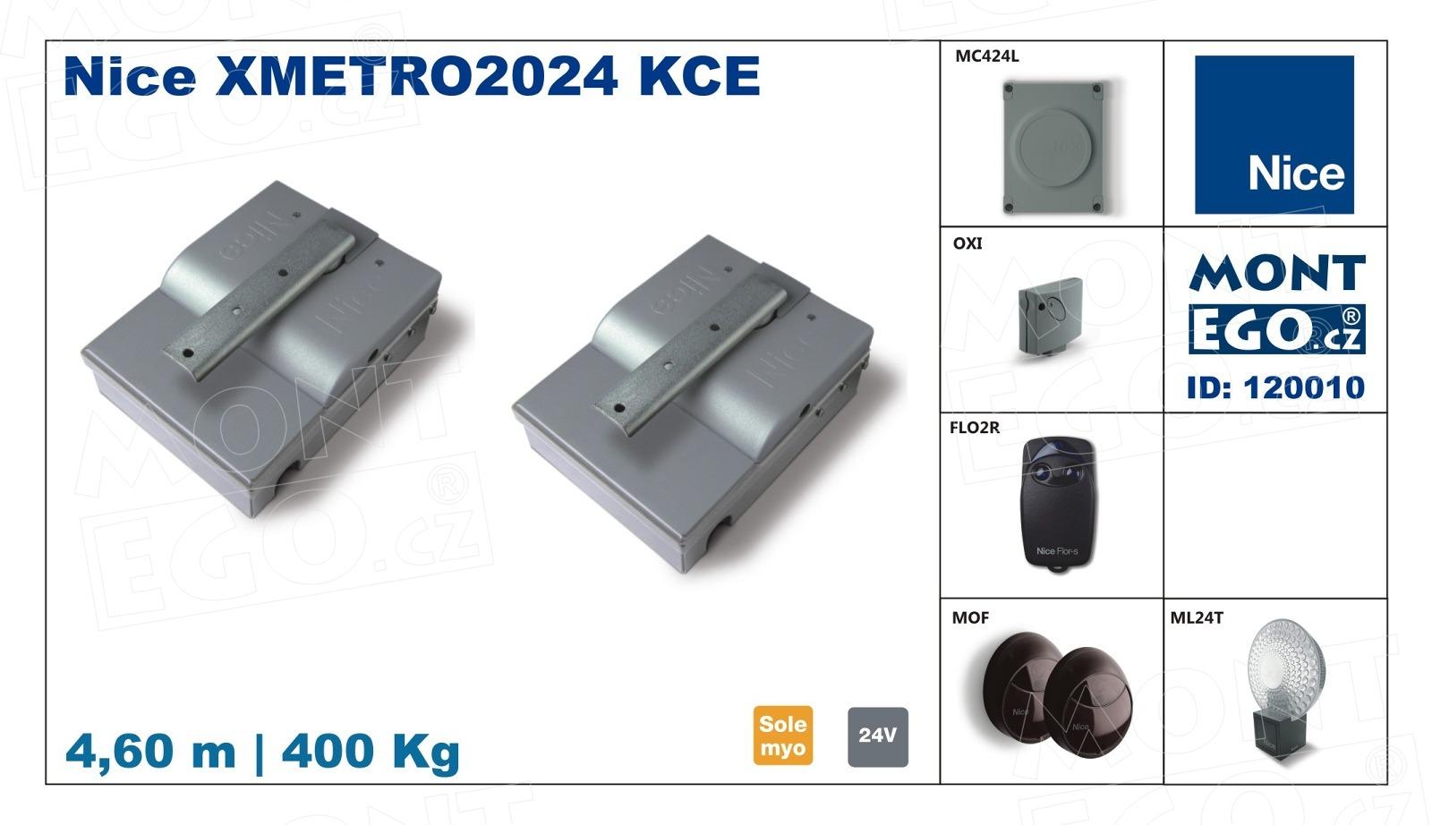 NICE XMETRO2024 KCE kompletní sada s podzemními pohony Metro pro dvoukřídlou bránu do 4,60 m průjezdu X-METRO-2024