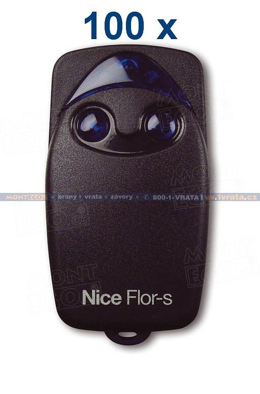 Vysílačky pro pohony Nice v nejlevnějším balení, 100 x dálkový ovladač Nice FLOR-S (FLO2R-S)