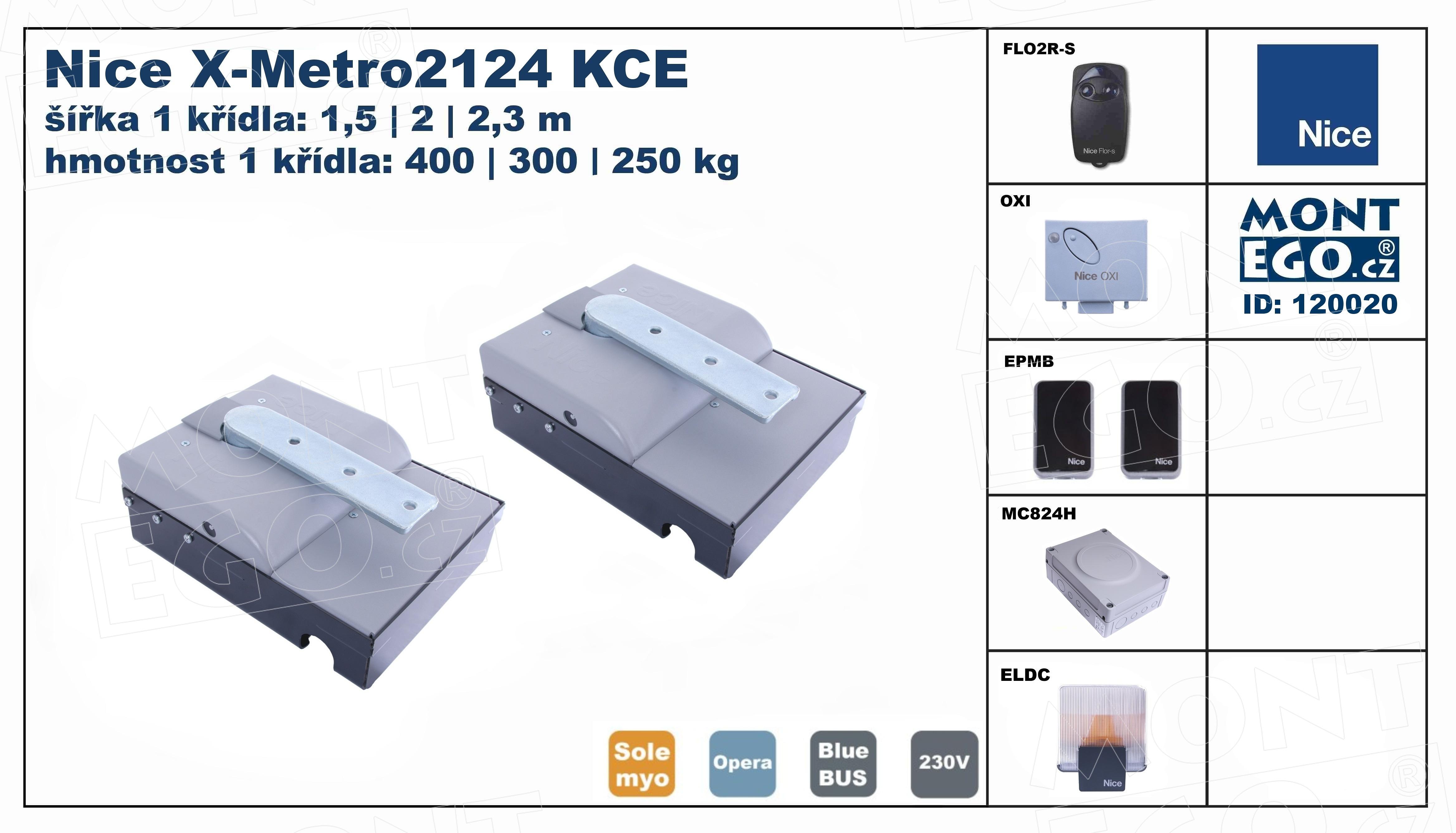 Nice X-Metro2124 KCE podzemní pohony pro křídlové brány do 4,60 m průjezdu, XMetrokit 2124