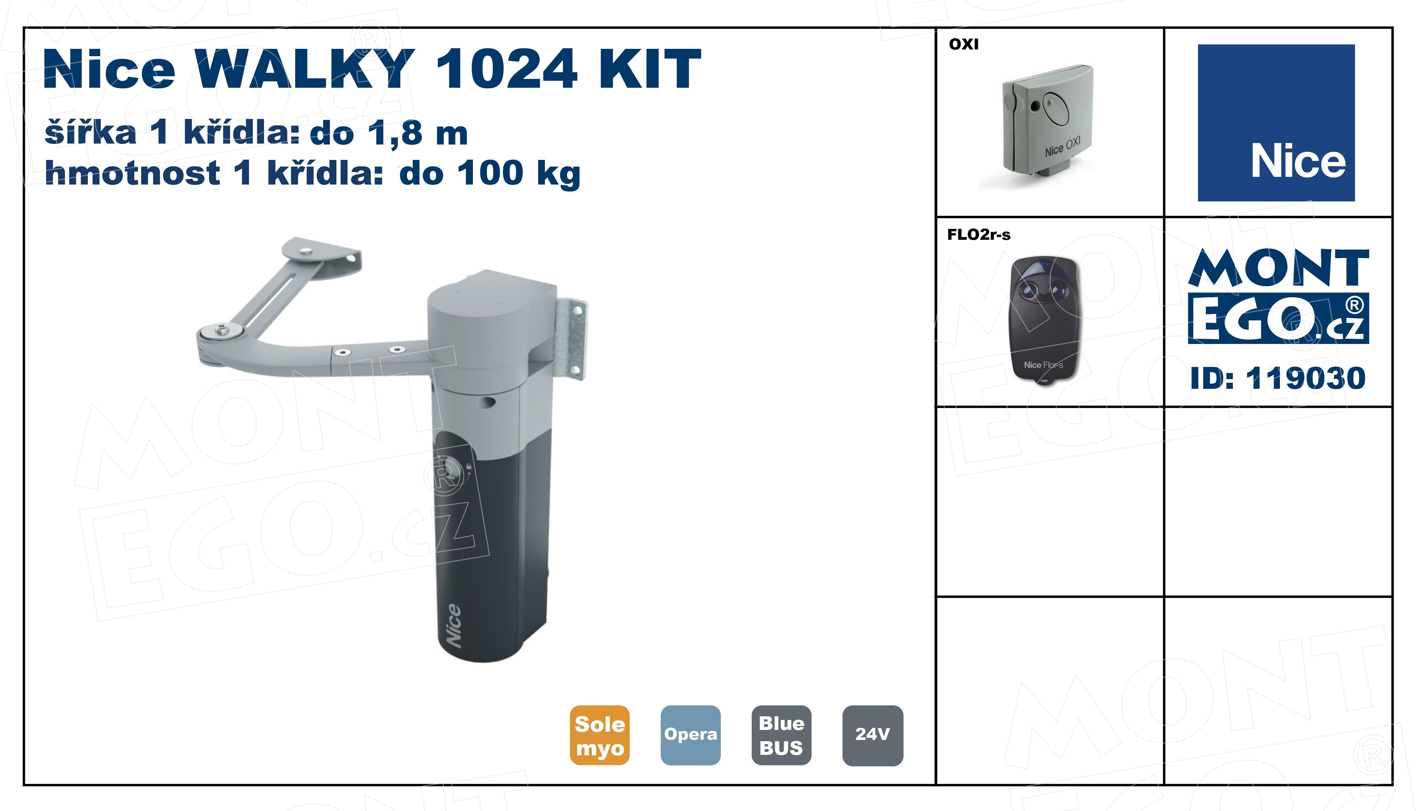 Nice WALKY 1024 KIT set s pákovým pohonem 1-křídlové branky do 1,80 m, pro úzké sloupky, na dálkové ovládání