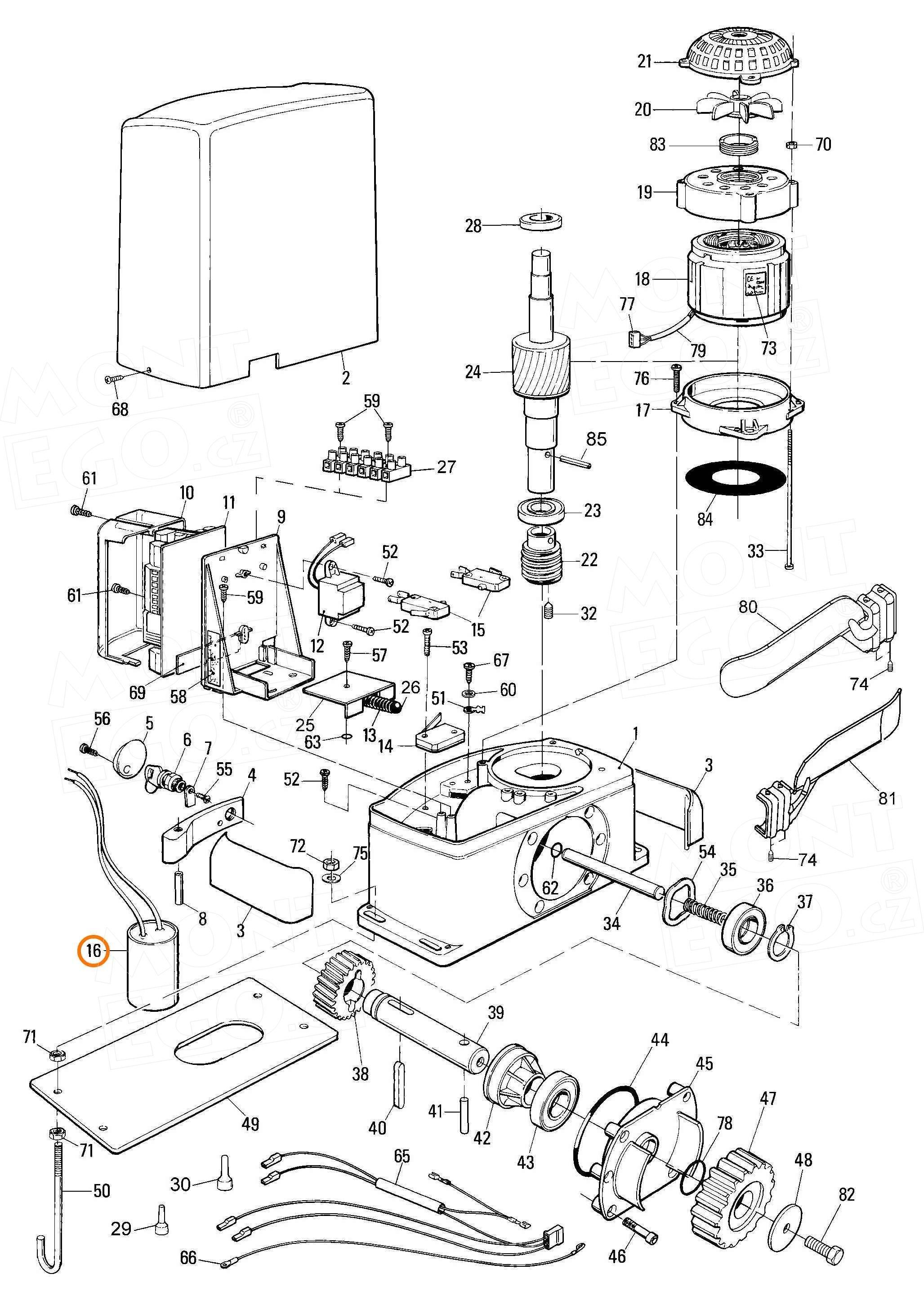 30U450A.0727 je kondenzátor 30uF pro pohony Nice Thor TH1551 i TH2251