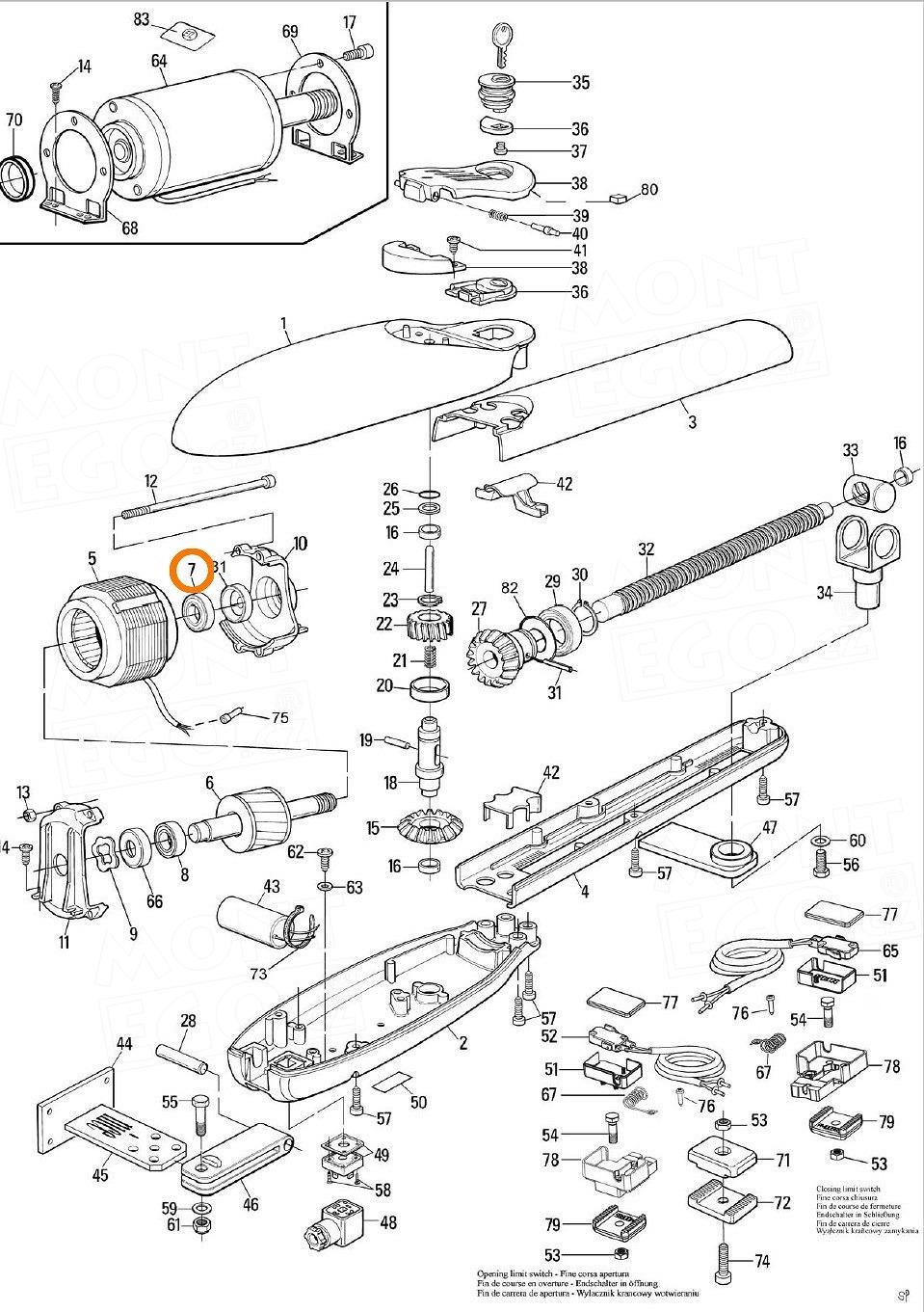 PMCU1.4630 ložisko 6003ZZ pro pohony křídlových bran Nice