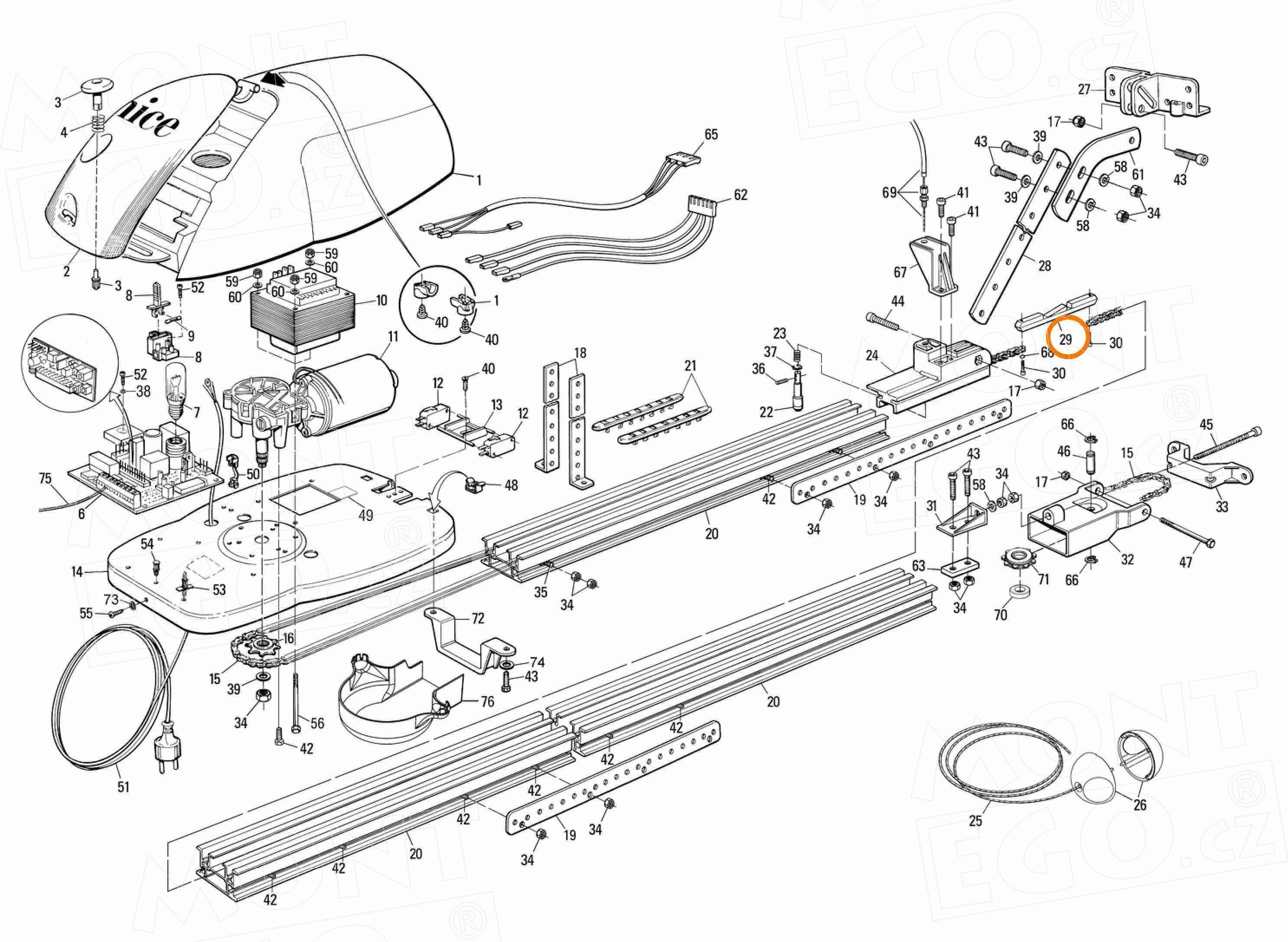 PMD0153D.4610 spojka řetězu pro pohony vrat Nice SPIDO, SPIDER