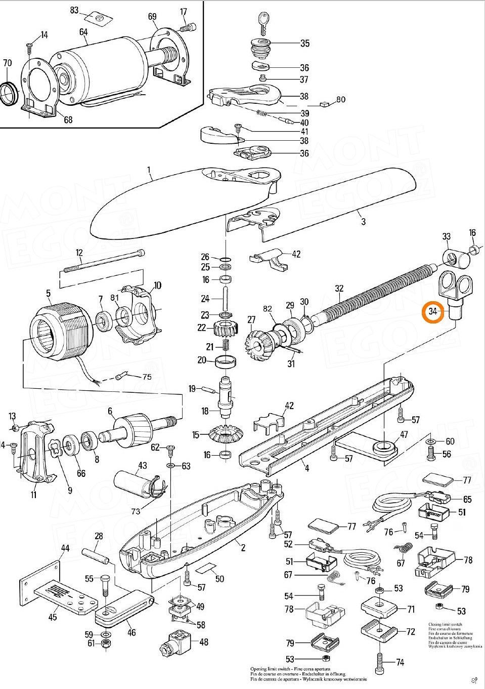 PMPU1R03.8003 vidlice, držák pohybové matice křídlových pohonů brány Nice