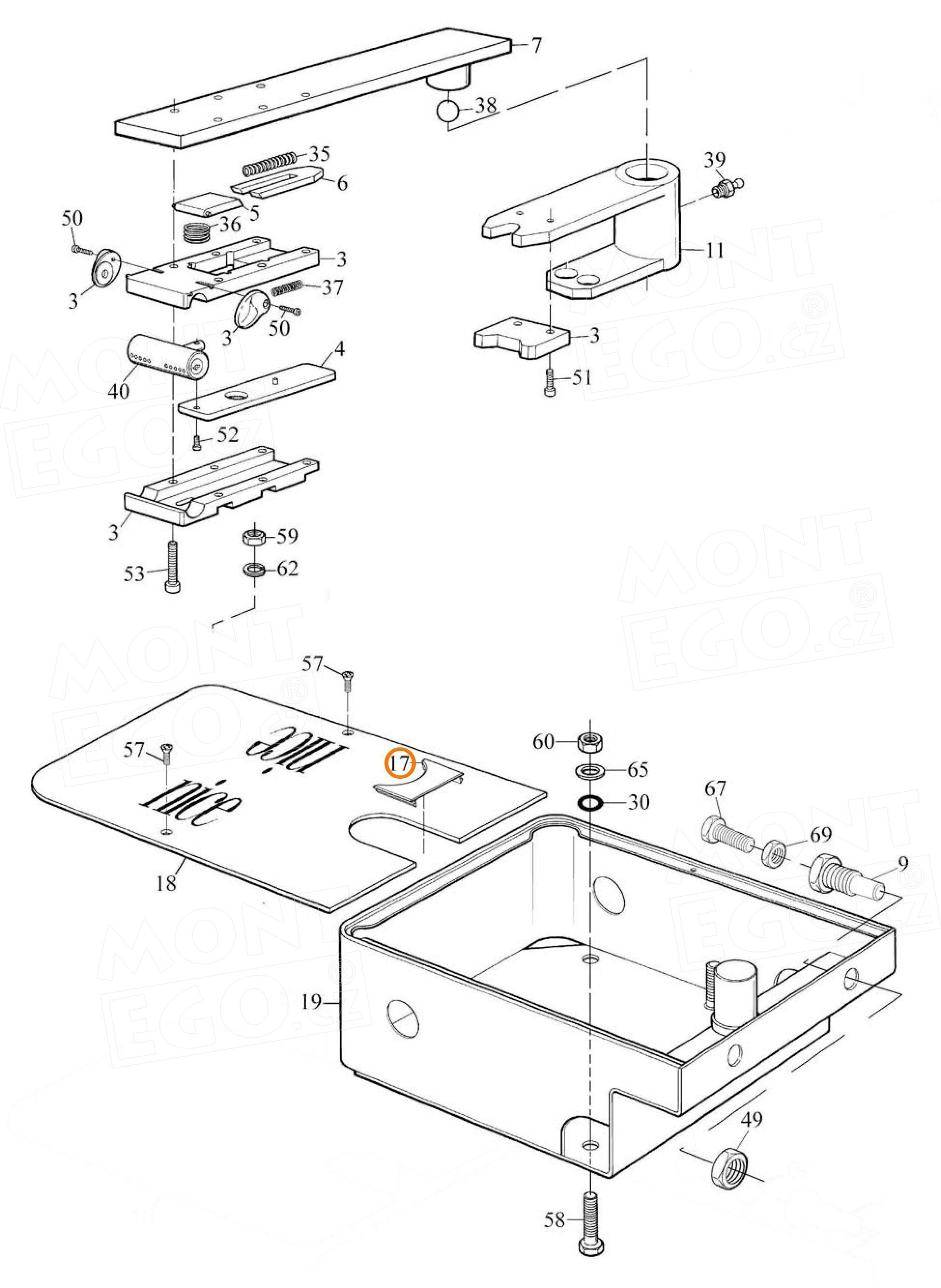 PPD0788.4540 plastová krytka vrchního krytu krabice Nice MECF