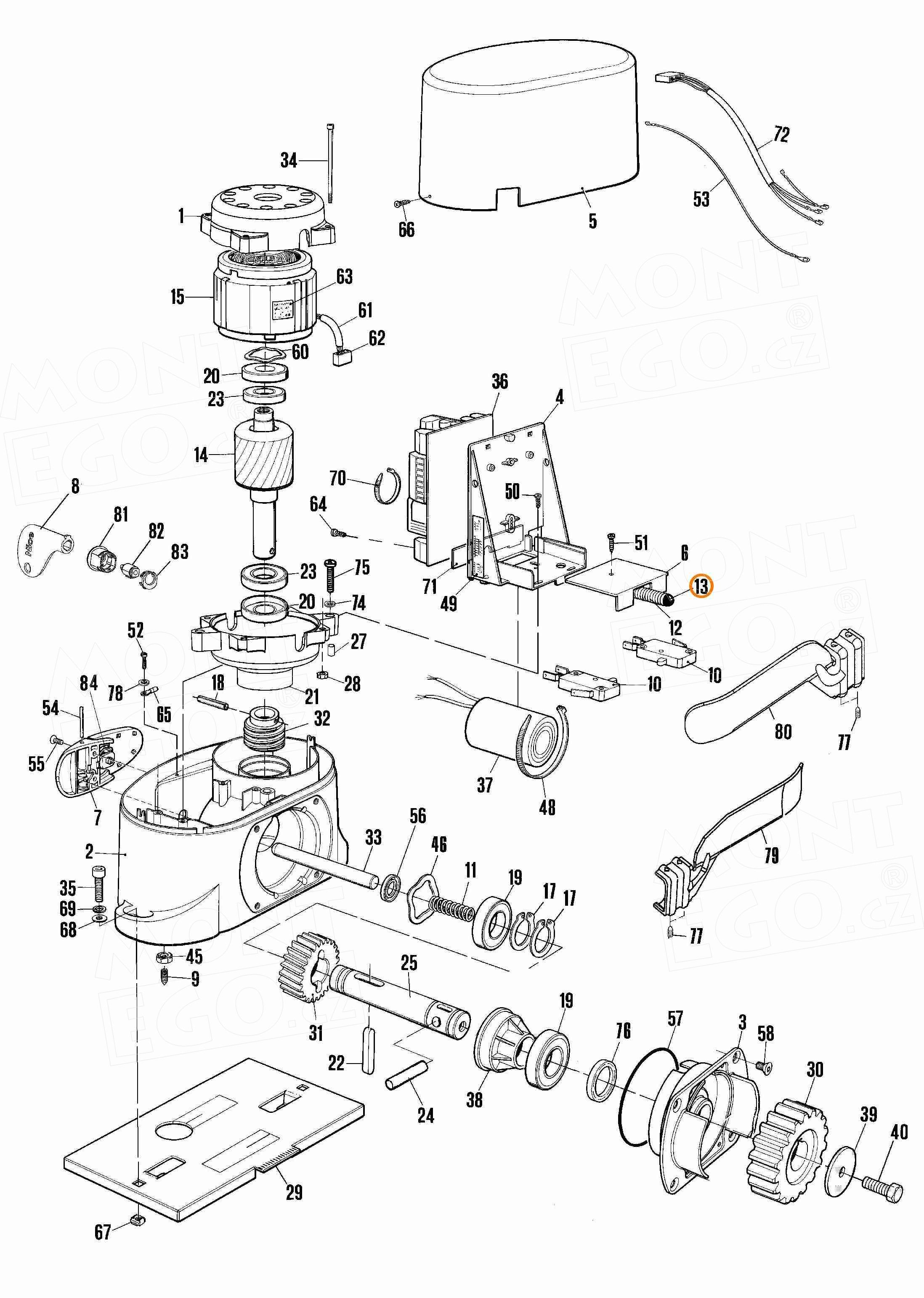 PPD1183.4540 krytka pružinky koncového spínače posuvných pohonů Nice Robo a Thor