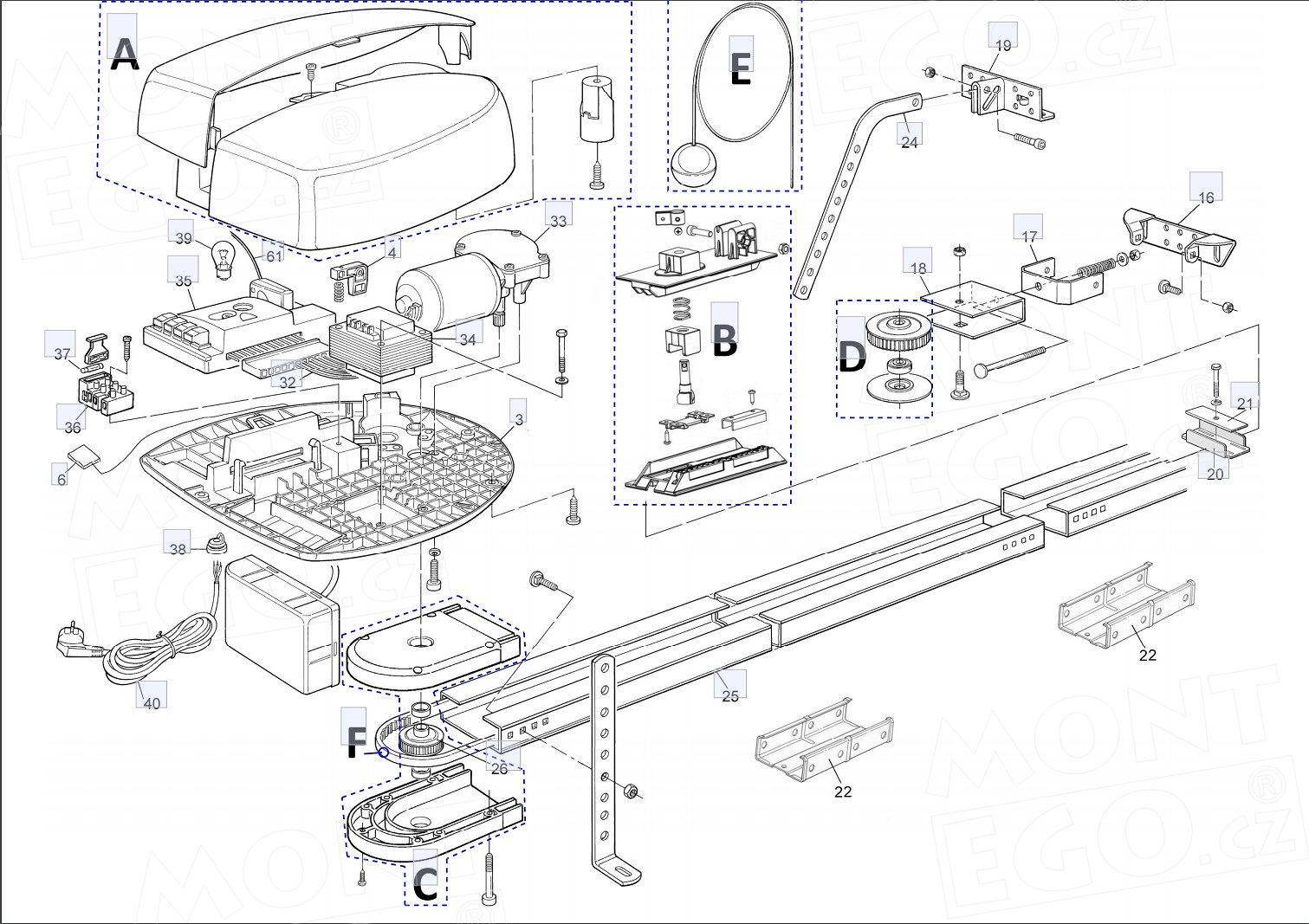 Seznam náhradních dílů pro pohon garážových vrat Nice SPIN23
