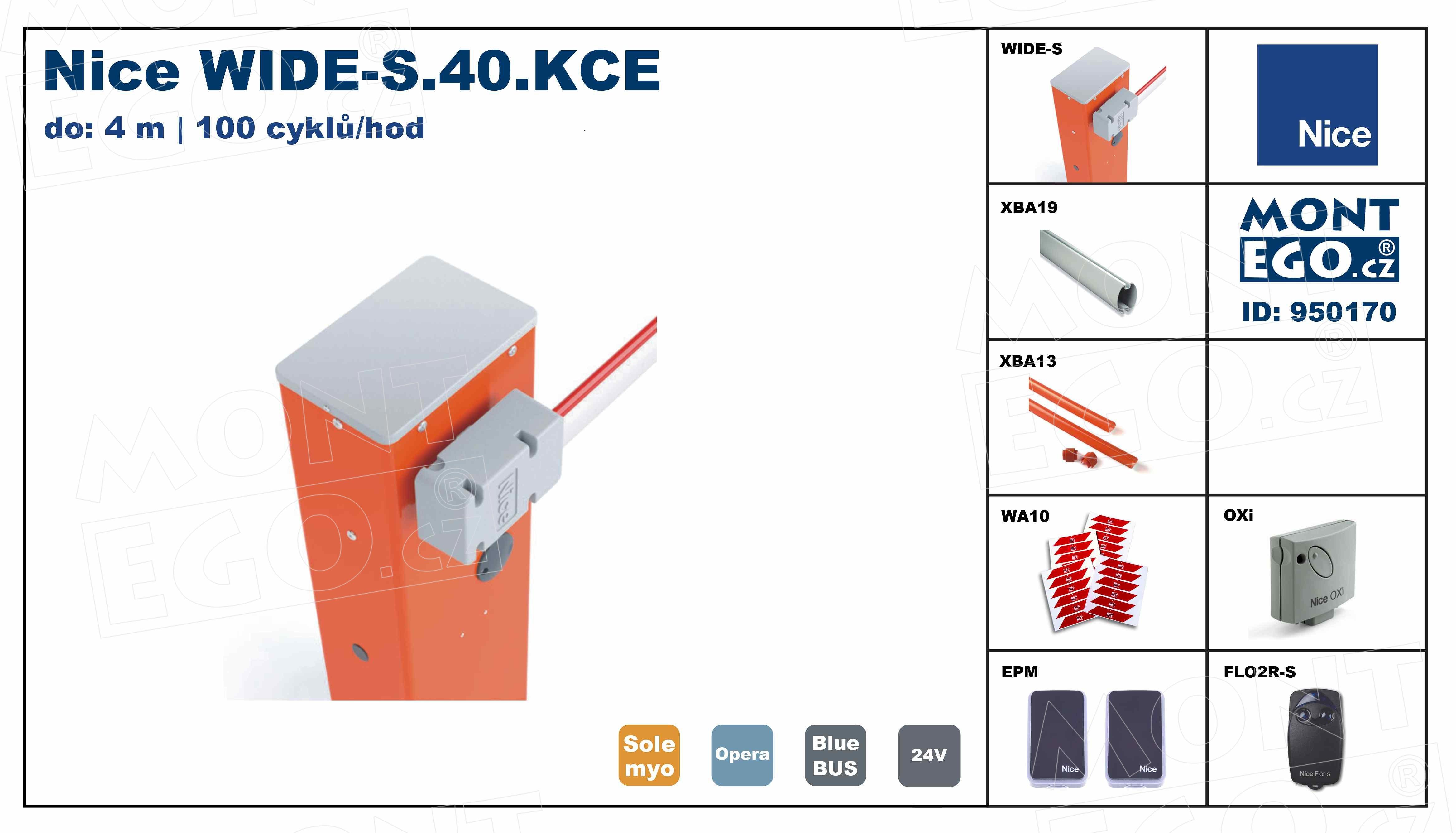 Nice WIDE-S.40.KCE levná automatická závora do 4 m vjezdů na dálkové ovládání