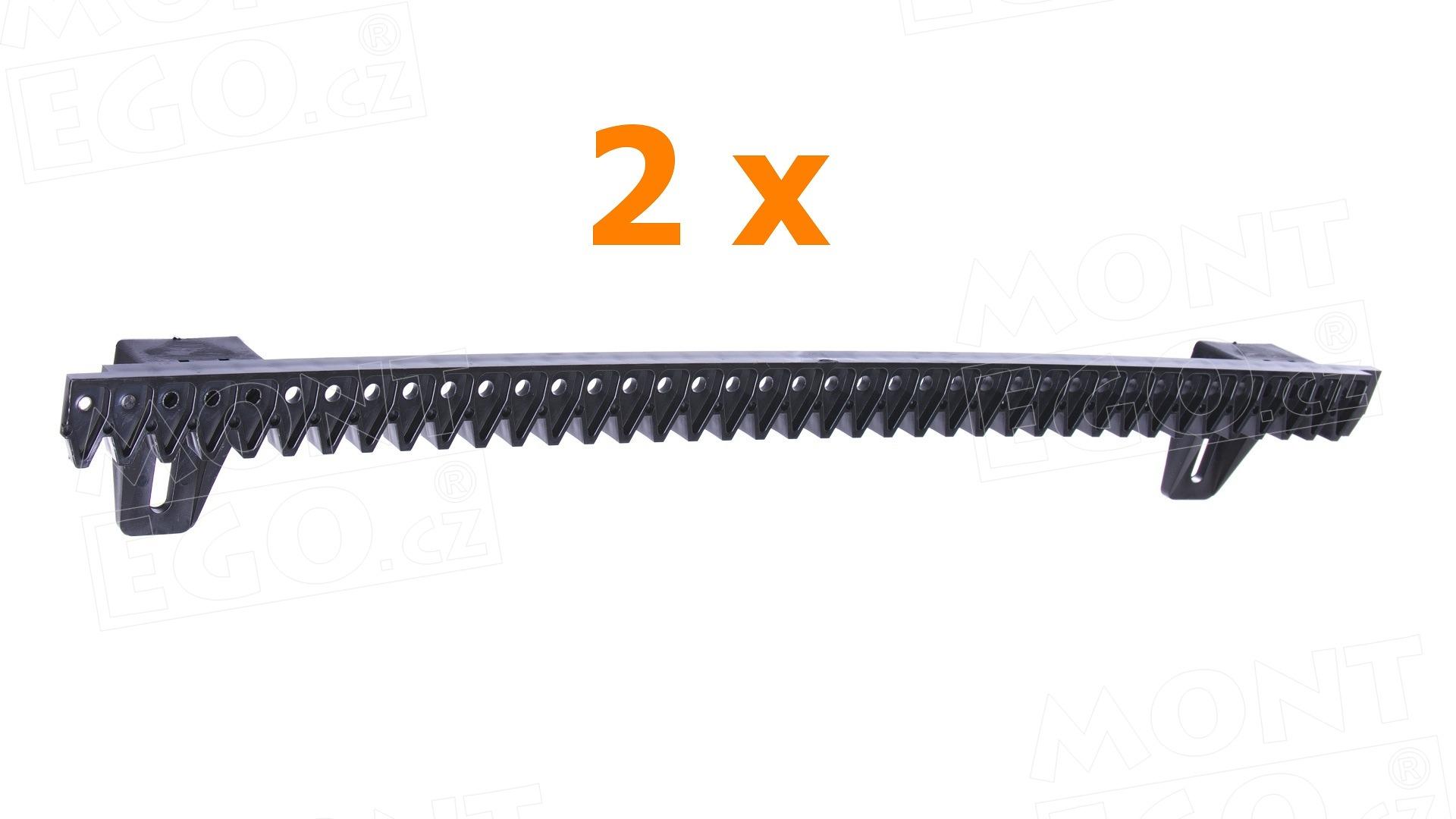 Plastový ozubený hřeben HR050.N pro pohony posuvných bran, délka 2 x 0,5m, šířka jen 12 mm